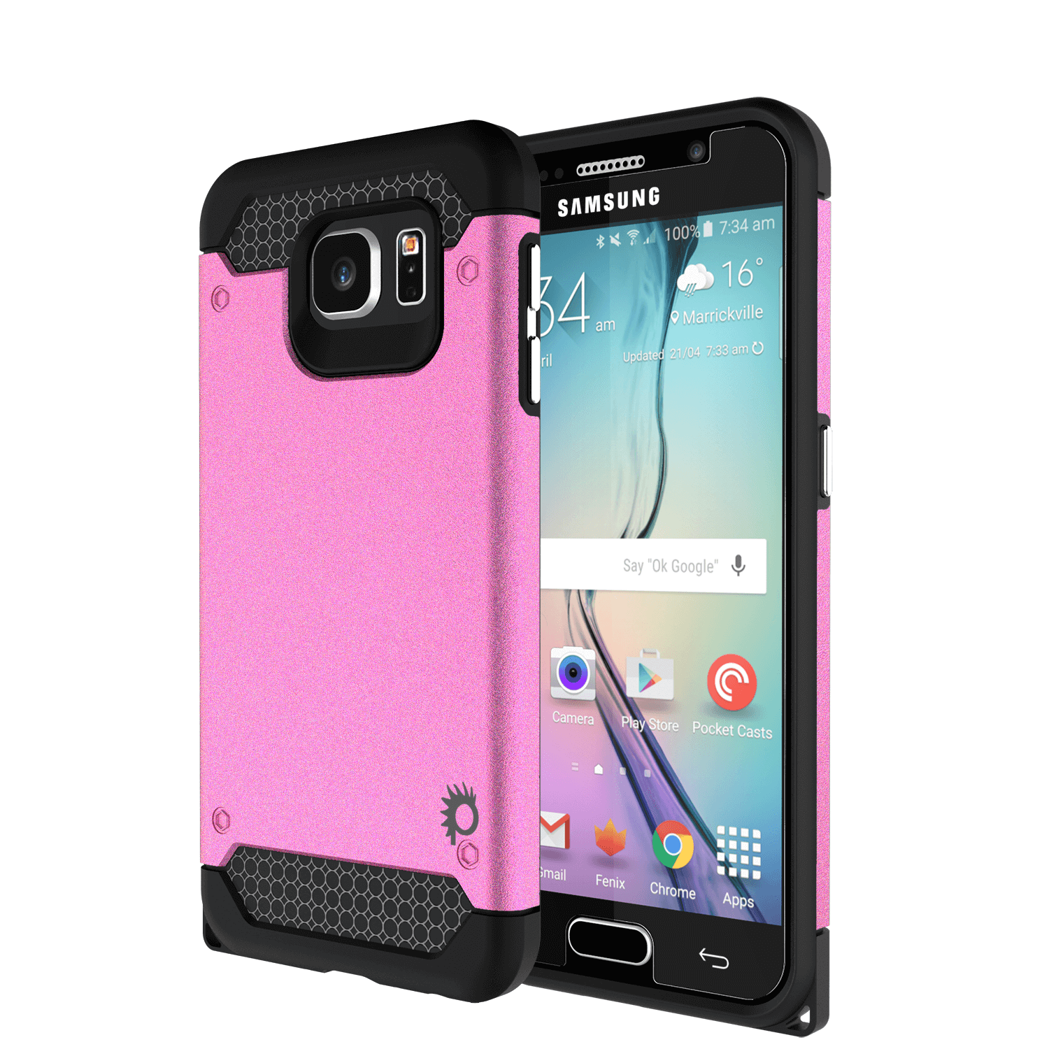 Galaxy s6Case PunkCase Galactic Pink Series Slim Protective Armor Soft Cover Case w/ Tempered Glass Protector Lifetime Warranty