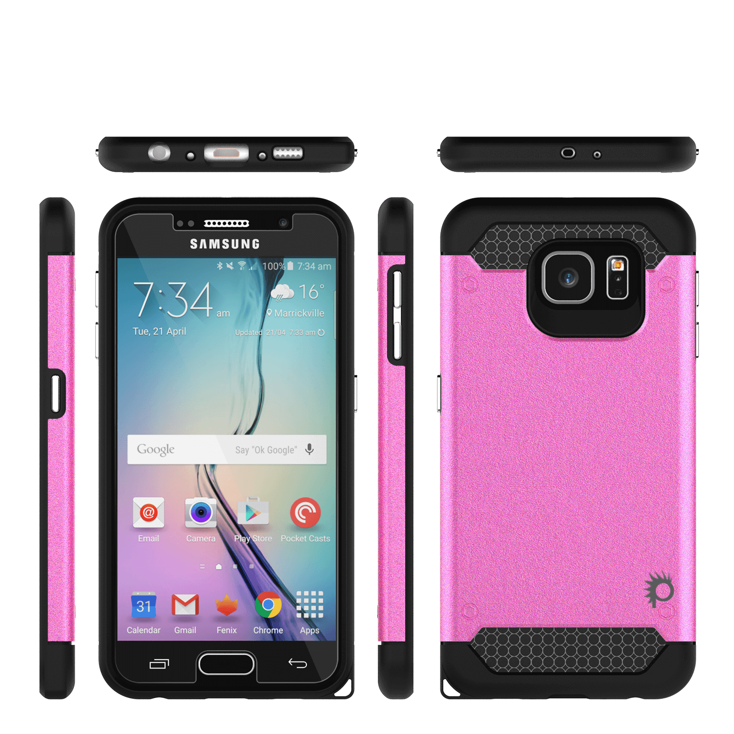 Galaxy s6 Case PunkCase Galactic Pink Series Slim Protective Armor Soft Cover Case w/ Tempered Glass