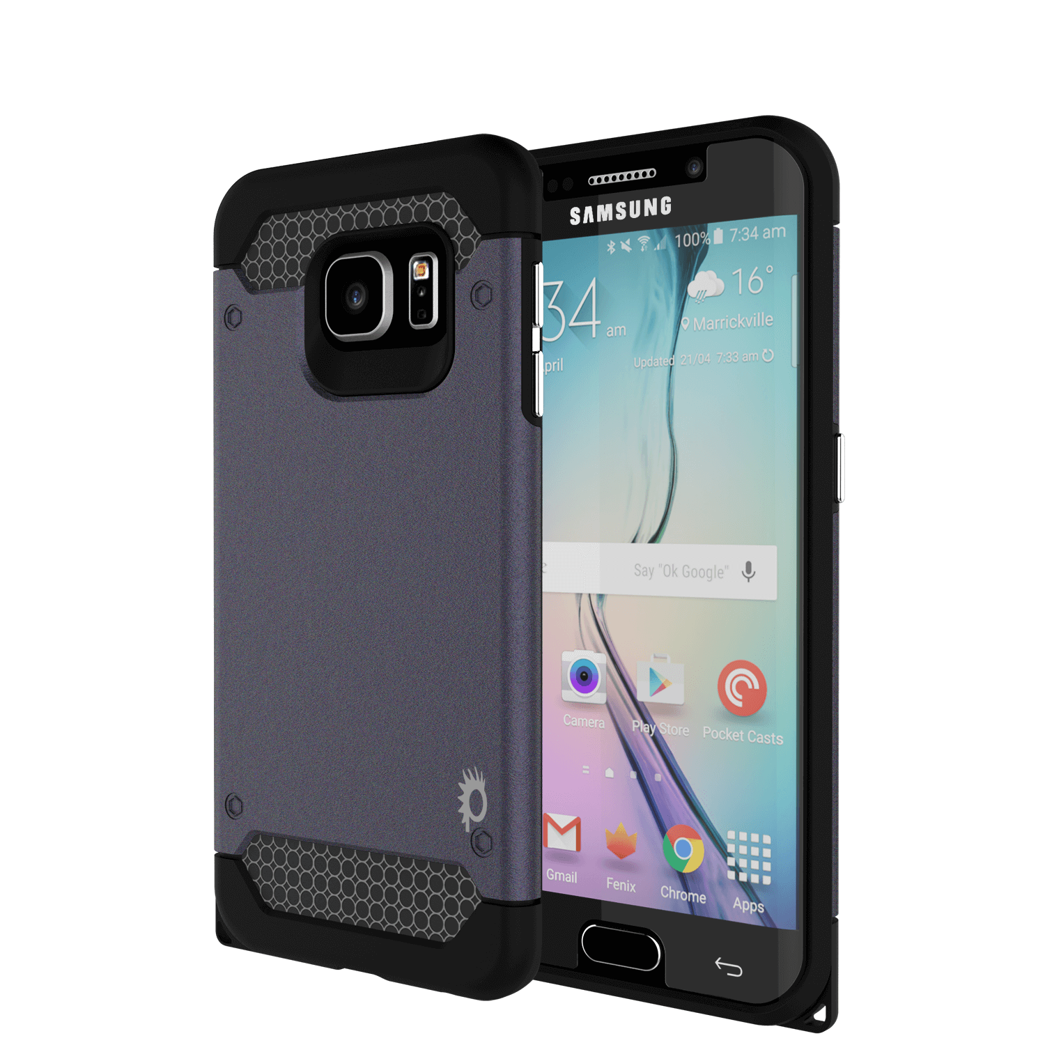 Galaxy s6 EDGE Case PunkCase Galactic Black Series Slim Armor Soft Cover w/ Screen Protector