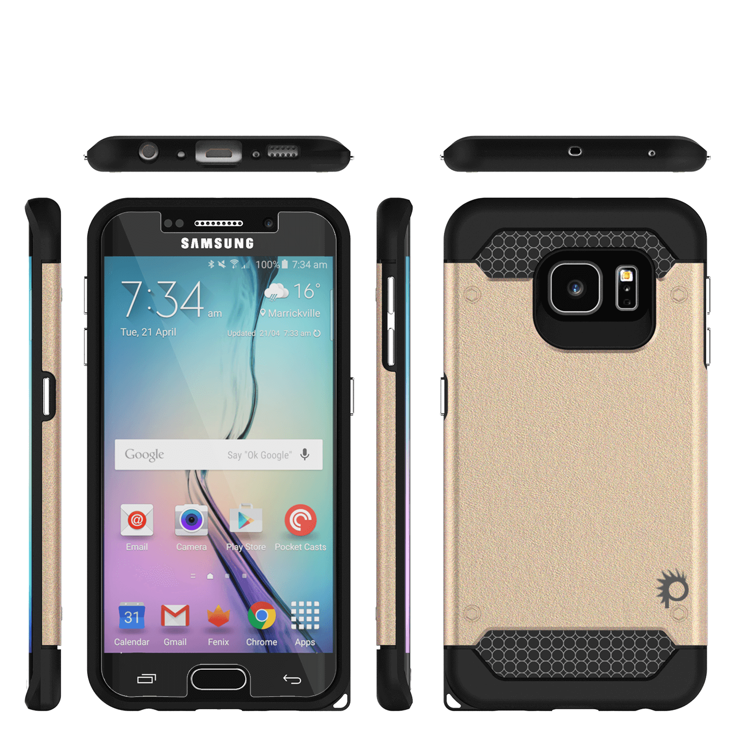 Galaxy s6 EDGE Case PunkCase Galactic Gold Series Slim Armor Soft Cover w/ Screen Protector