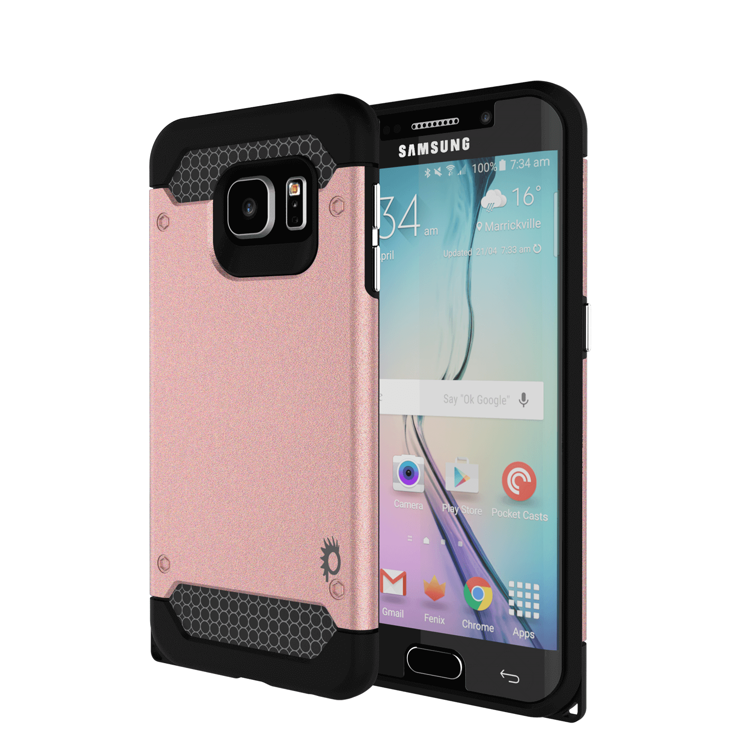 Galaxy s6 EDGE Case PunkCase Galactic Rose Gold Series Slim Armor Soft Cover w/ Screen Protector