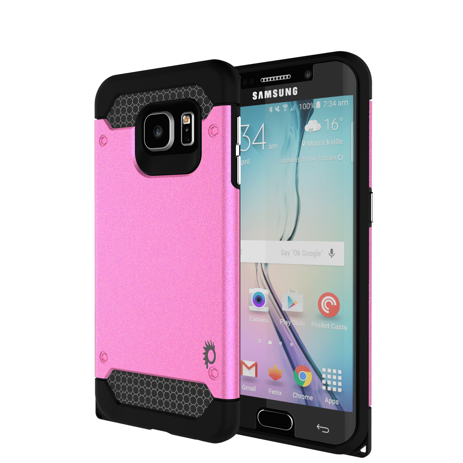 Galaxy s6 EDGE Case PunkCase Galactic Pink Series Slim Protective Armor Soft Cover Case w/ Tempered Glass Protector Lifetime Warranty