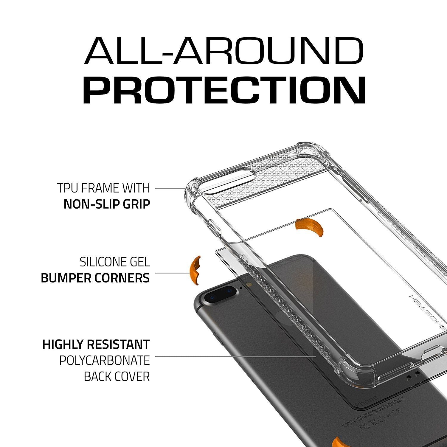 iPhone 8+ Plus Case, Ghostek Covert 2 Series for iPhone 8+ Plus Protective Case [ Orange]