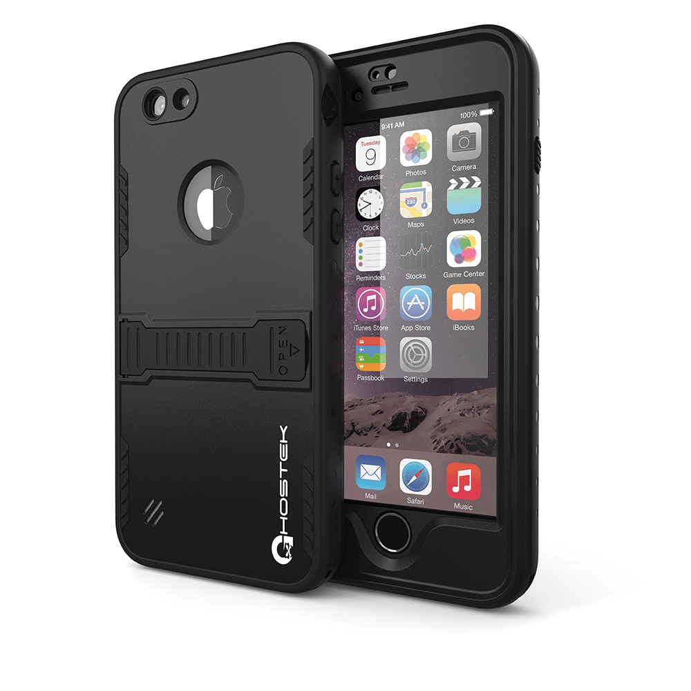 iPhone 6 Plus Waterproof Case, Ghostek Atomic Black w/ Attached Screen Protector - Lifetime Warranty