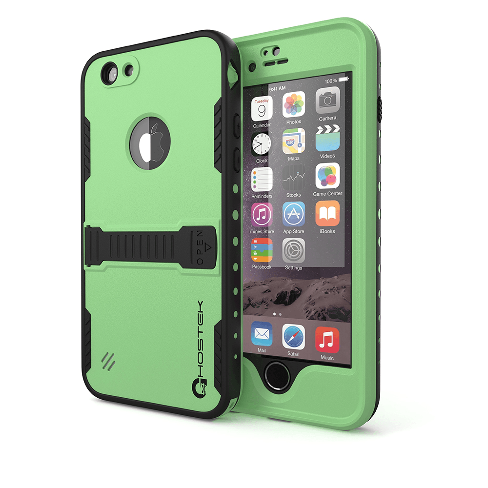 iphone-6-plus-waterproof-case-ghostek-atomic-green-apple-iphone-6-plus-waterproof-case-w-attached-screen-protector-lifetime-warranty-apple-iphone-6-plus-slim-fitted-waterproof-shock-proof-dust-proof-dirt-proof-snow-proof-cover-case-ghocas189