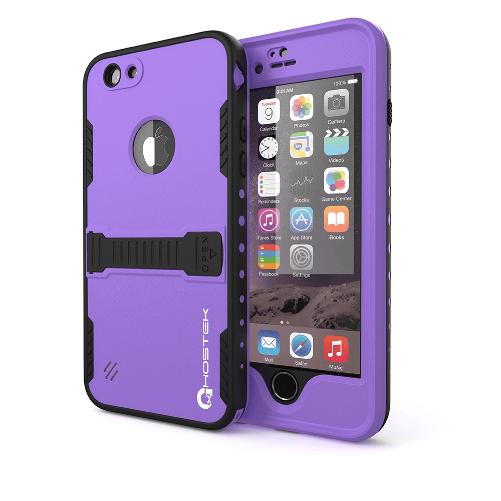 iPhone 6 Plus Waterproof Case Ghostek Atomic Purple w/ Attached Screen Protector - Lifetime Warranty