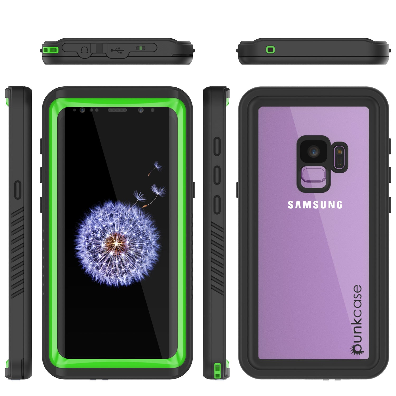 Galaxy S9 Waterproof Case, Punkcase [Extreme Series] Armor Cover [Light Green]