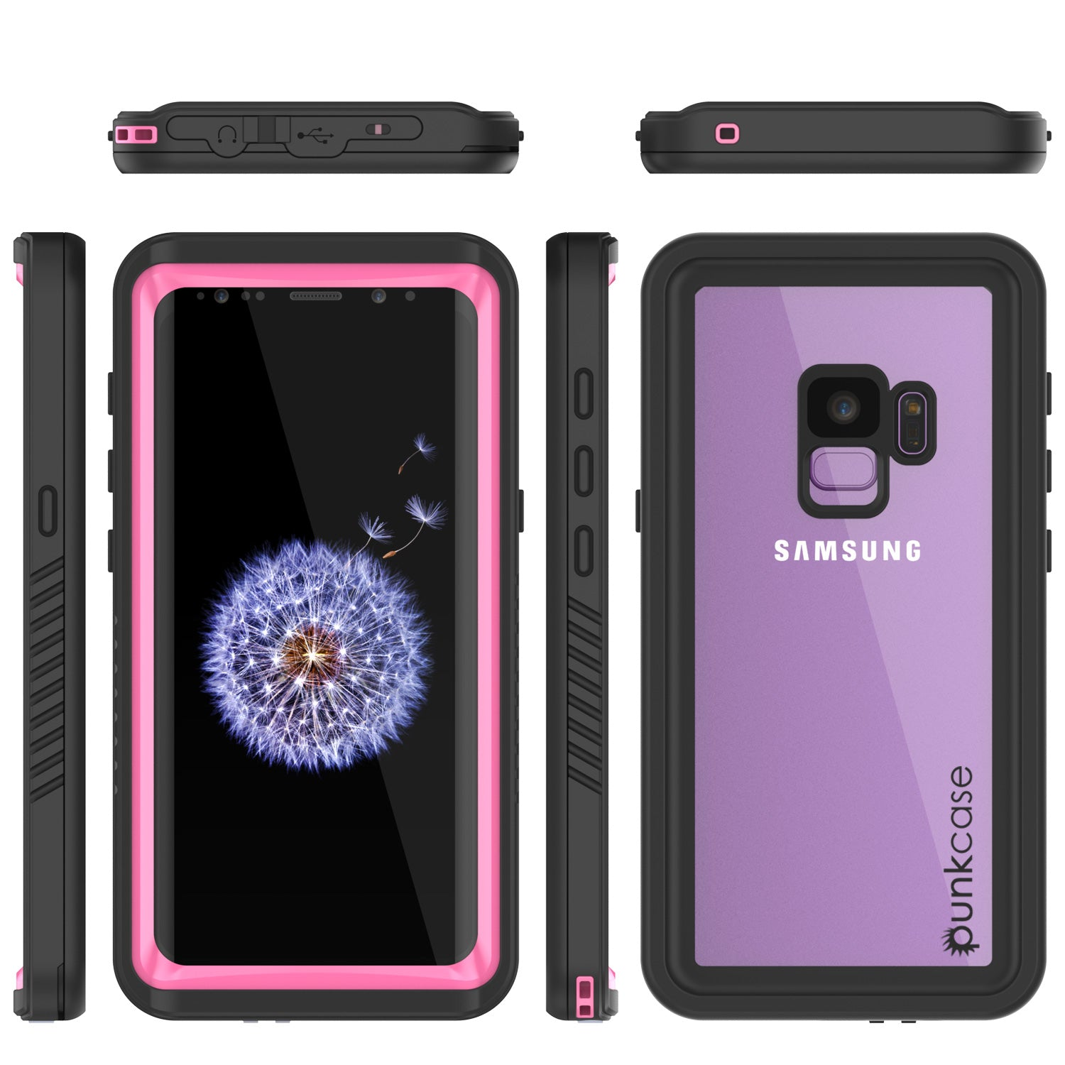 Galaxy S9 Waterproof Case, Punkcase [Extreme Series] Armor Cover [Pink]