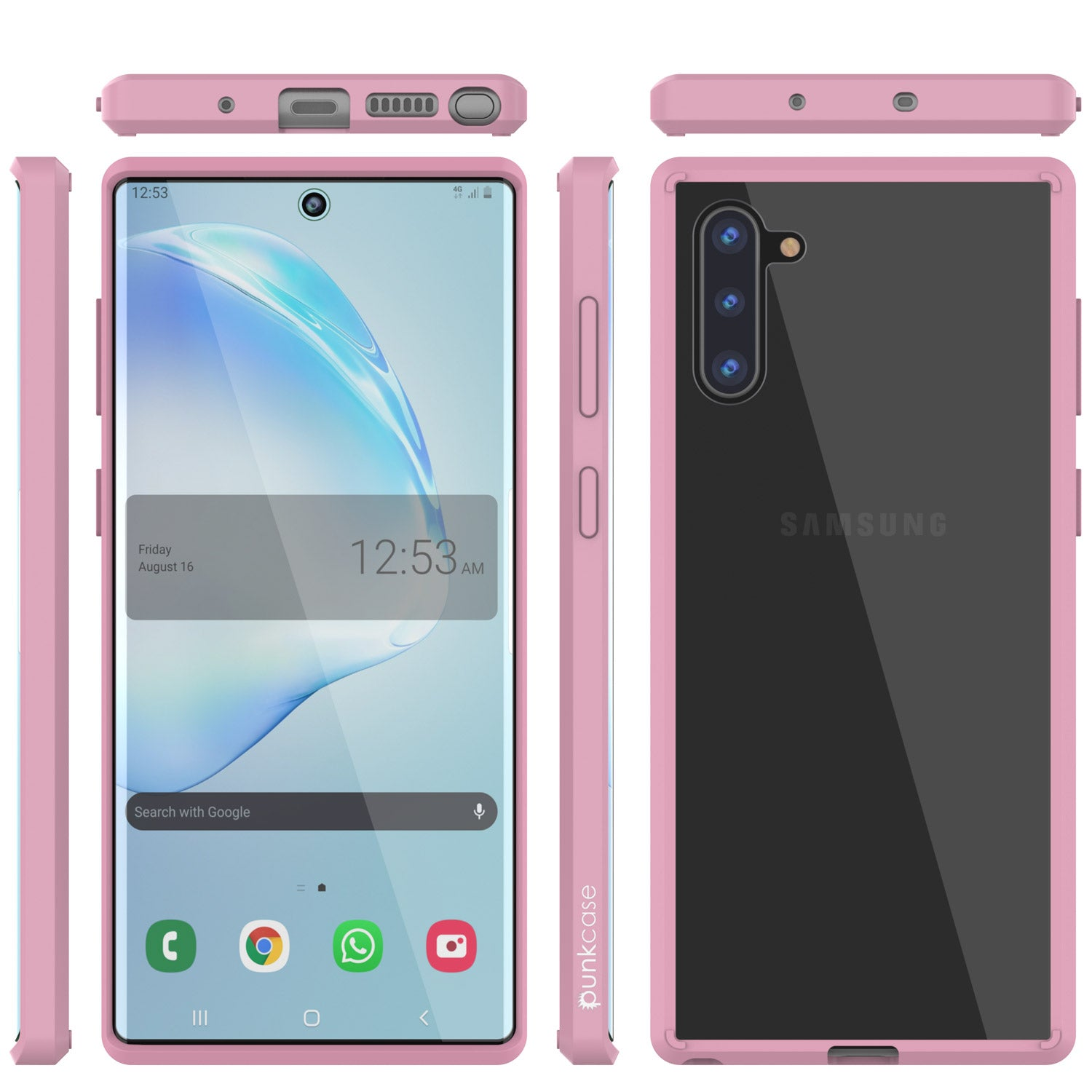 Galaxy Note 10 Punkcase Lucid-2.0 Series Slim Fit Armor Crystal Pink Case Cover