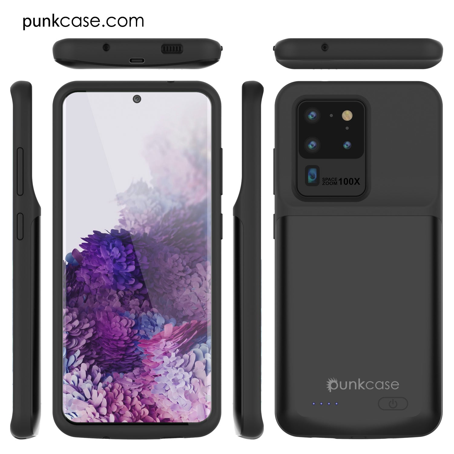 PunkJuice S20 Ultra Battery Case All Black - Fast Charging Power Juice Bank with 6000mAh