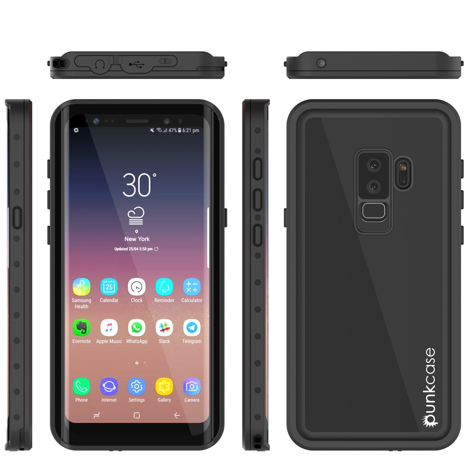 low priced f2b5b f9d9b Galaxy S9 Plus Waterproof Case PunkCase StudStar Black Thin 6.6ft Unde