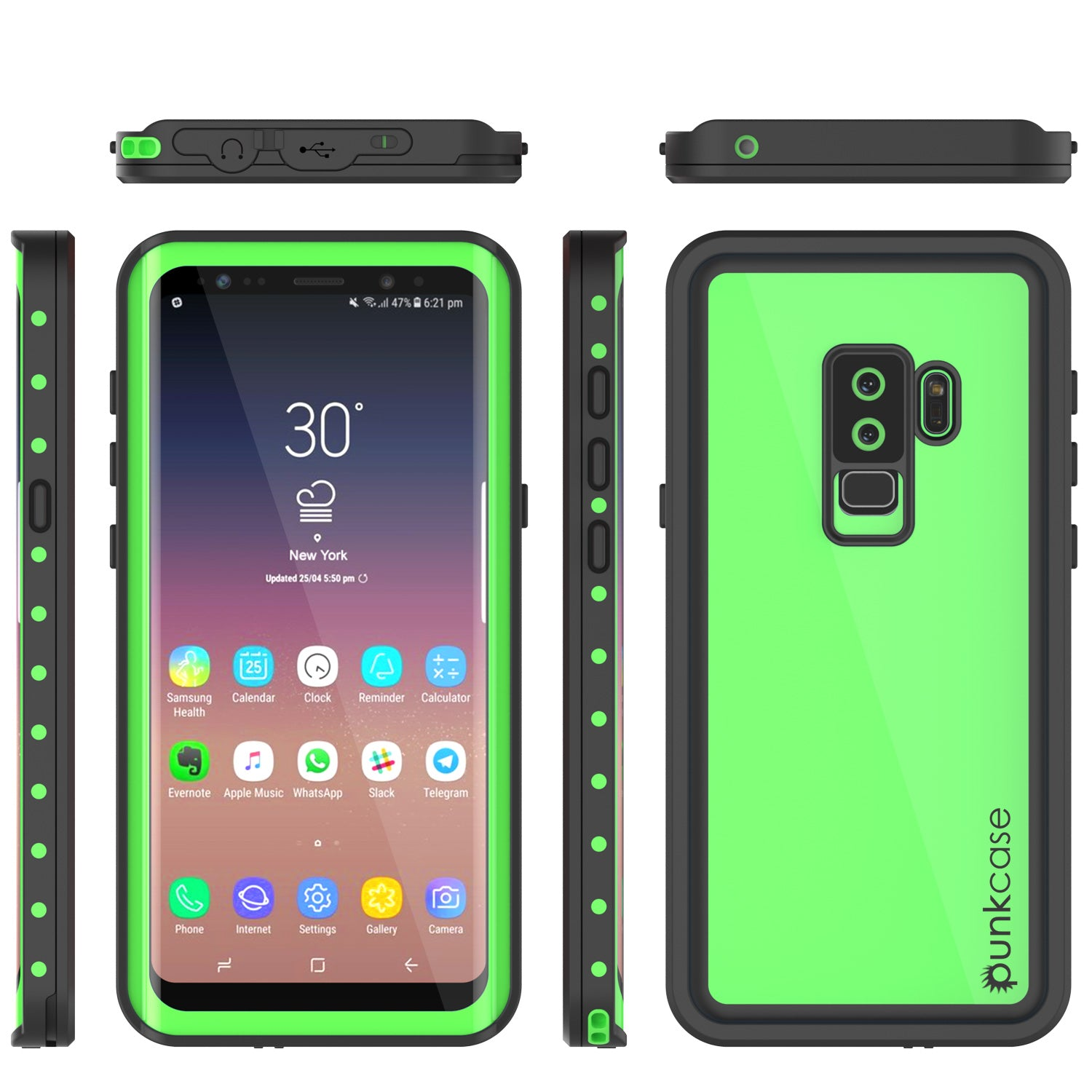 Galaxy S9 Plus Waterproof Case PunkCase StudStar Light Green Thin 6.6ft Underwater IP68 ShockProof