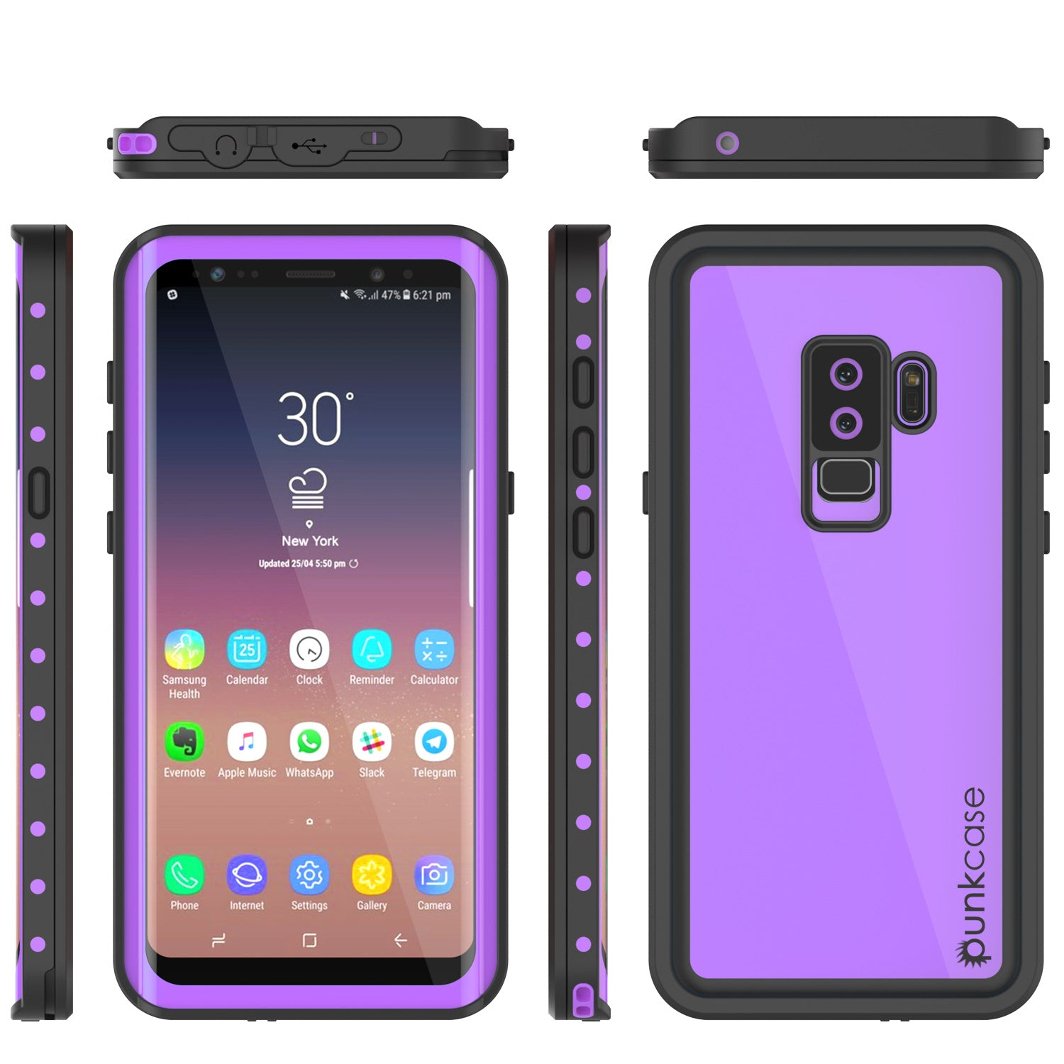 quality design d546f e8abb Galaxy S9 Plus Waterproof Case PunkCase StudStar Purple Thin 6.6ft Und