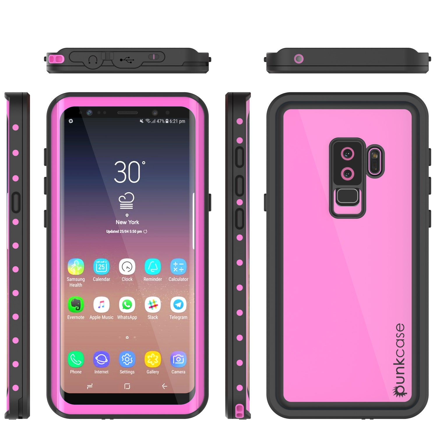 Galaxy S9 Plus Waterproof Case PunkCase StudStar Pink Thin 6.6ft Underwater IP68 Shock/Snow Proof
