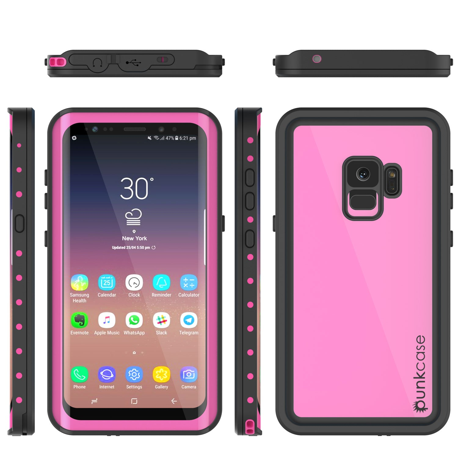 Galaxy S9 Waterproof Case PunkCase StudStar Pink Thin 6 6ft Underwater IP68 Shock Snow Proof