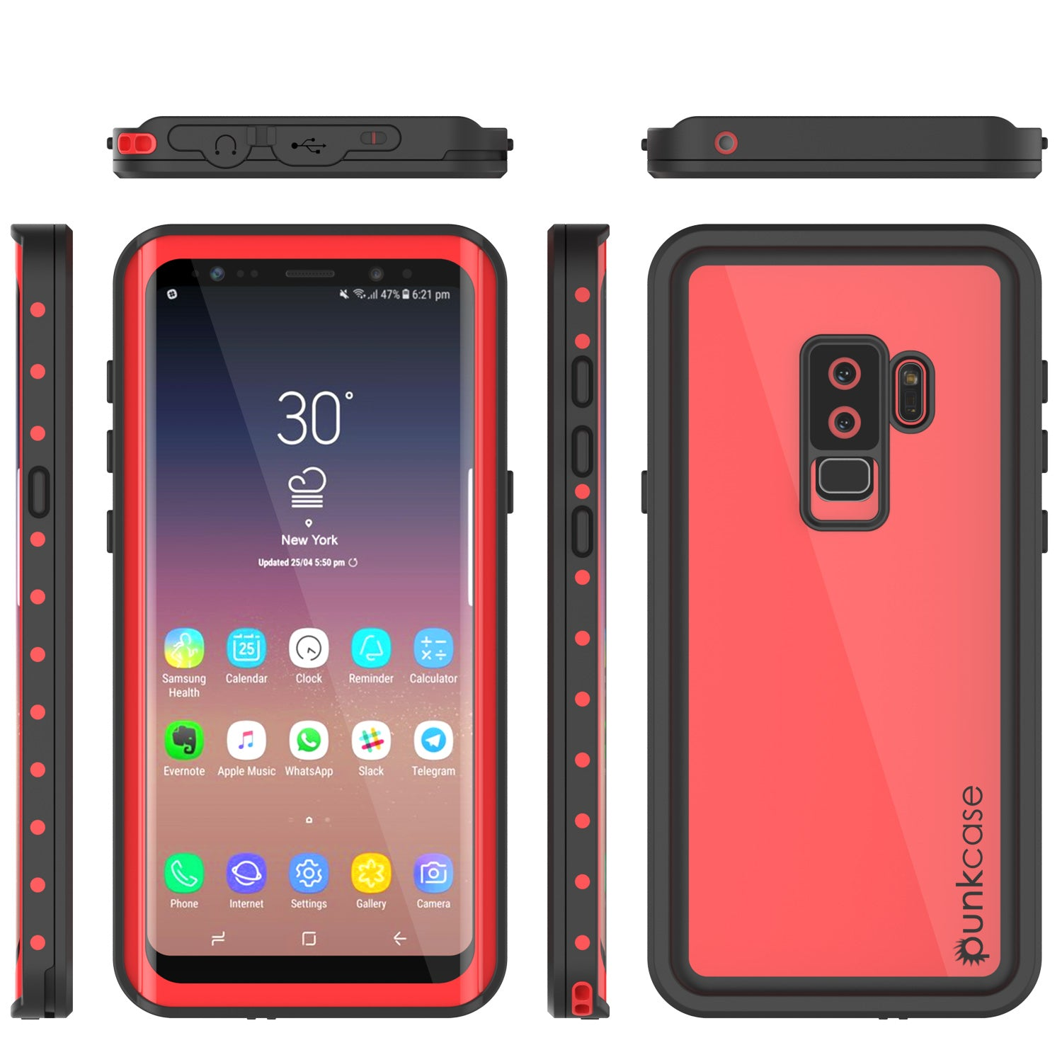 sale retailer 6e8de f77ee Galaxy S9 Plus Waterproof Case PunkCase StudStar Red Thin 6.6ft Underw