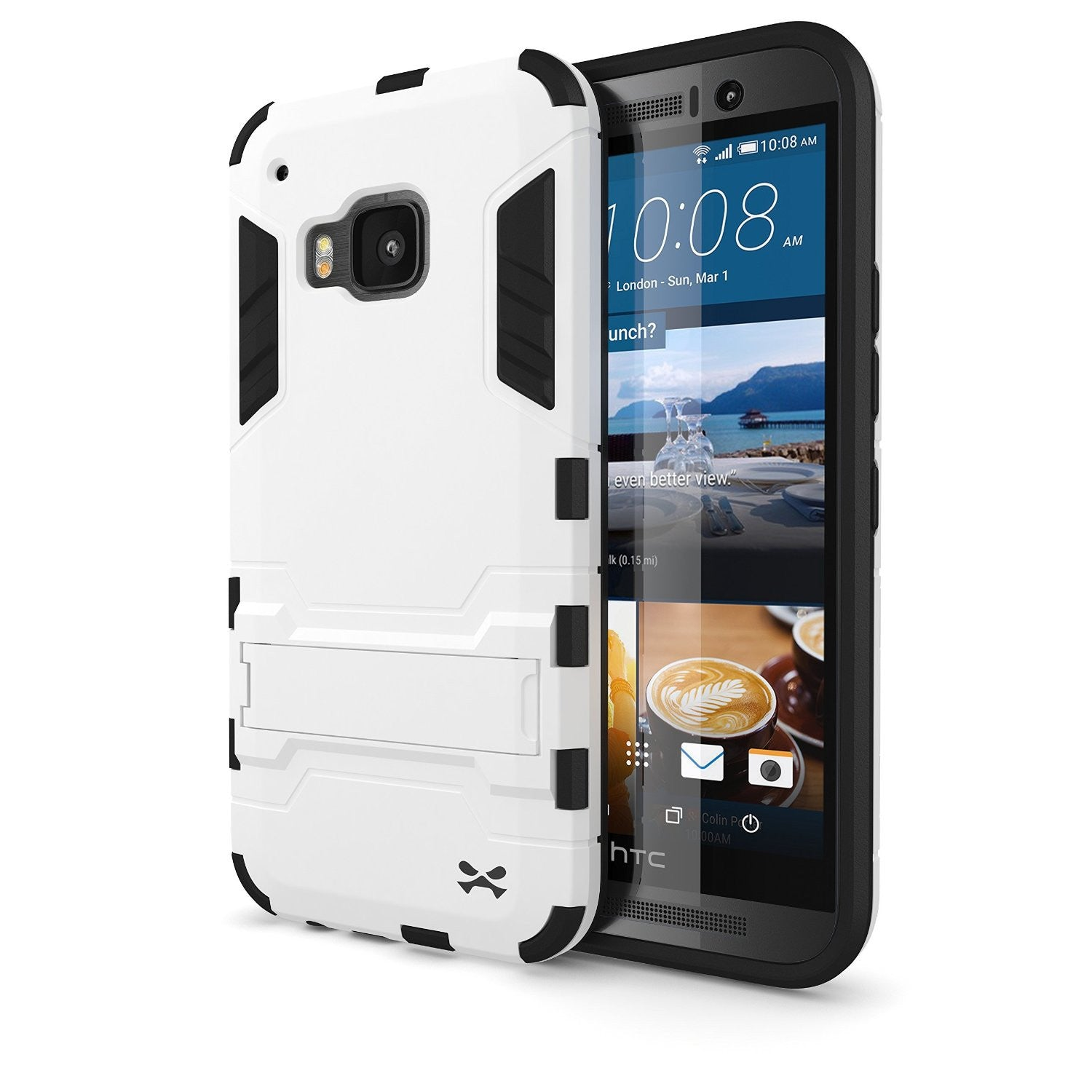 HTC One M9 Case, Ghostek Armadillo 2.0 White Case w/ M9 Tempered Glass  | Lifetime Warranty