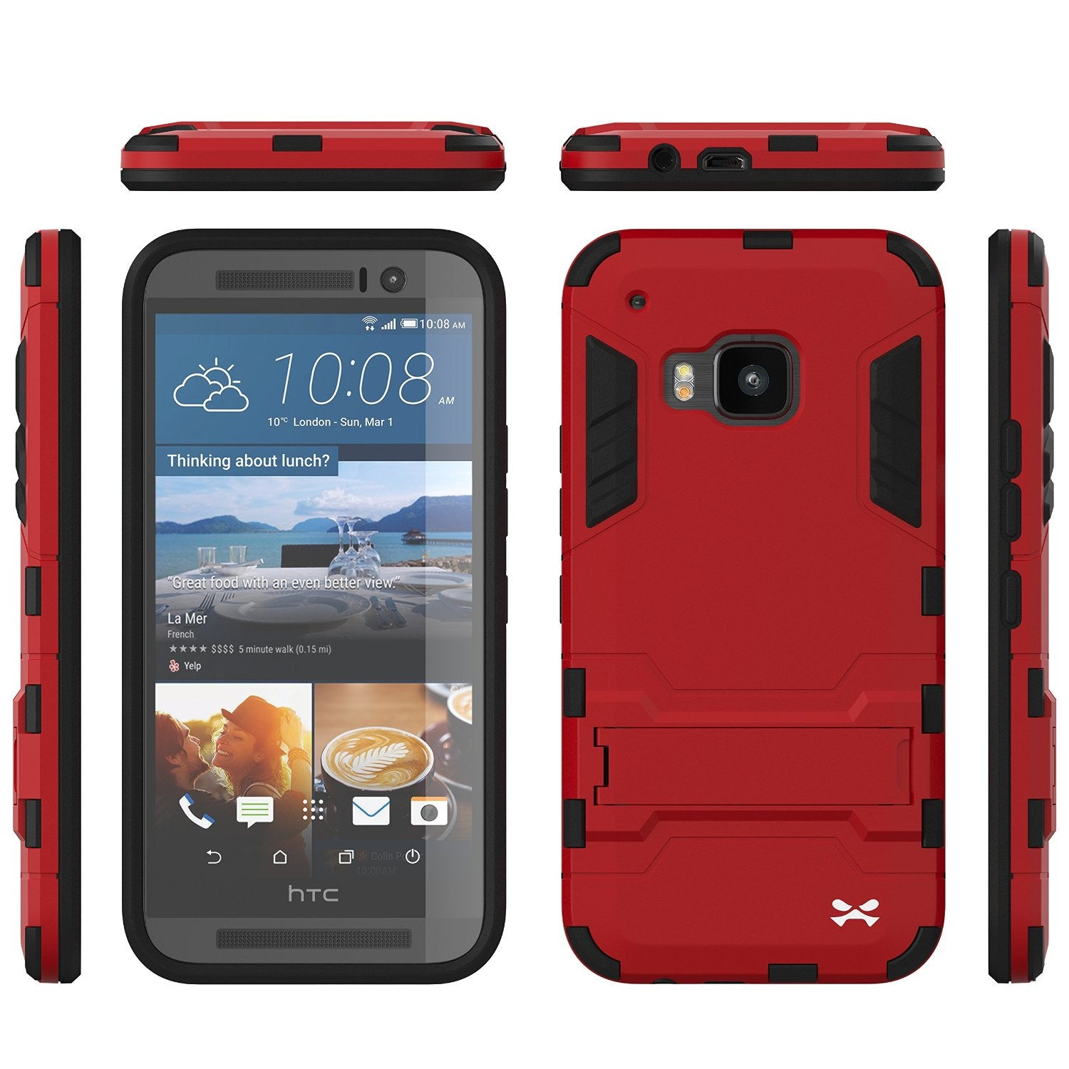 HTC One M9 Case, Ghostek Armadillo 2.0 Red Case w/ M9 Tempered Glass  | Lifetime Warranty
