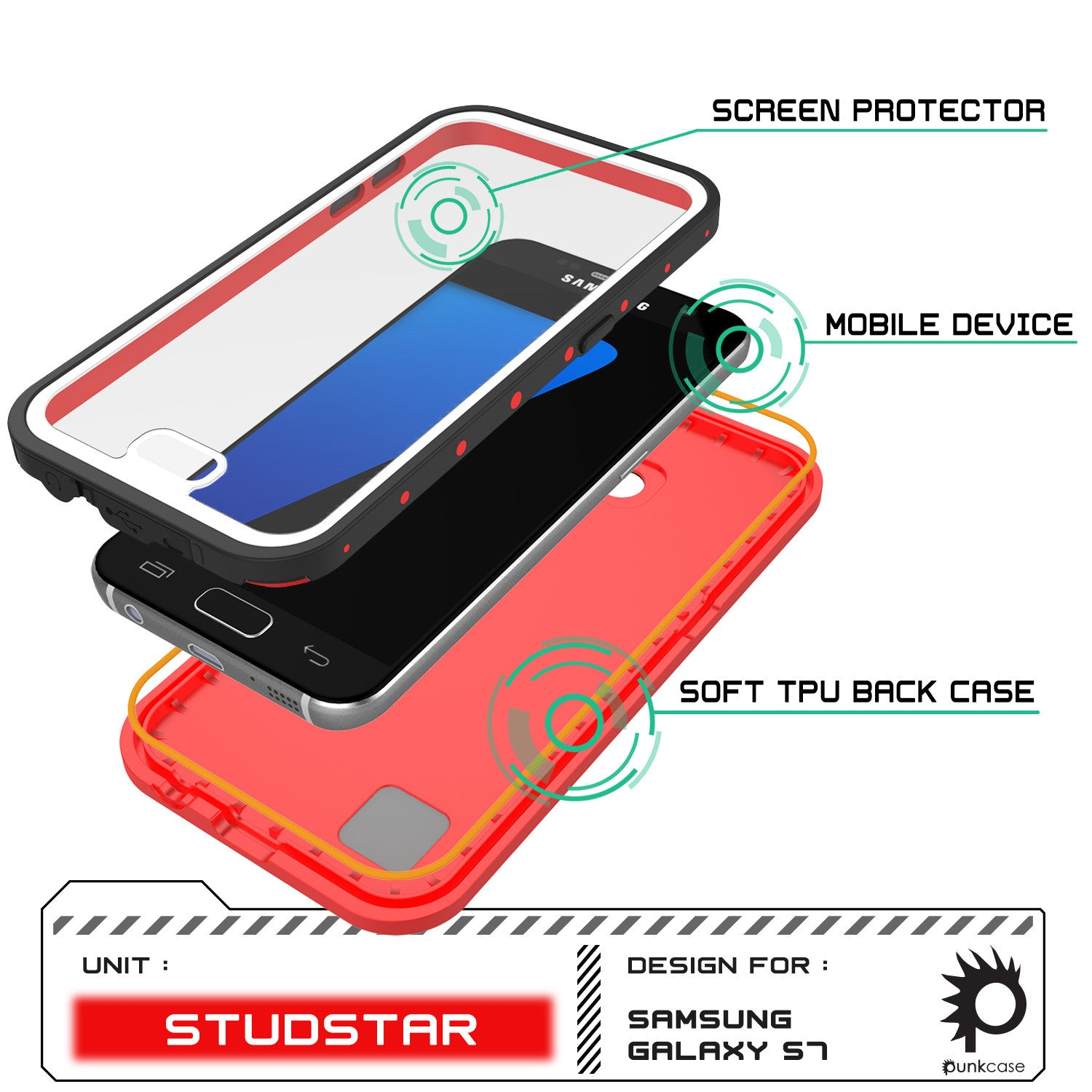 Galaxy S7 Waterproof Case PunkCase StudStar Red Thin 6.6ft Underwater IP68 Shock/Dirt/Snow Proof