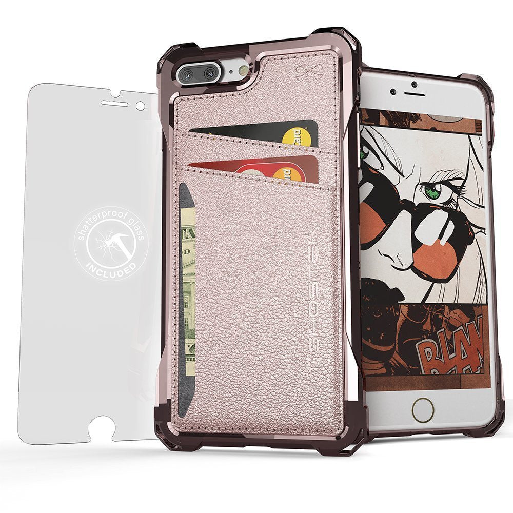 iPhone 7+ Plus Wallet Case, Ghostek Exec Pink Series | Slim Armor Hybrid Impact Bumper | TPU PU Leather Credit Card Slot Holder Sleeve Cover