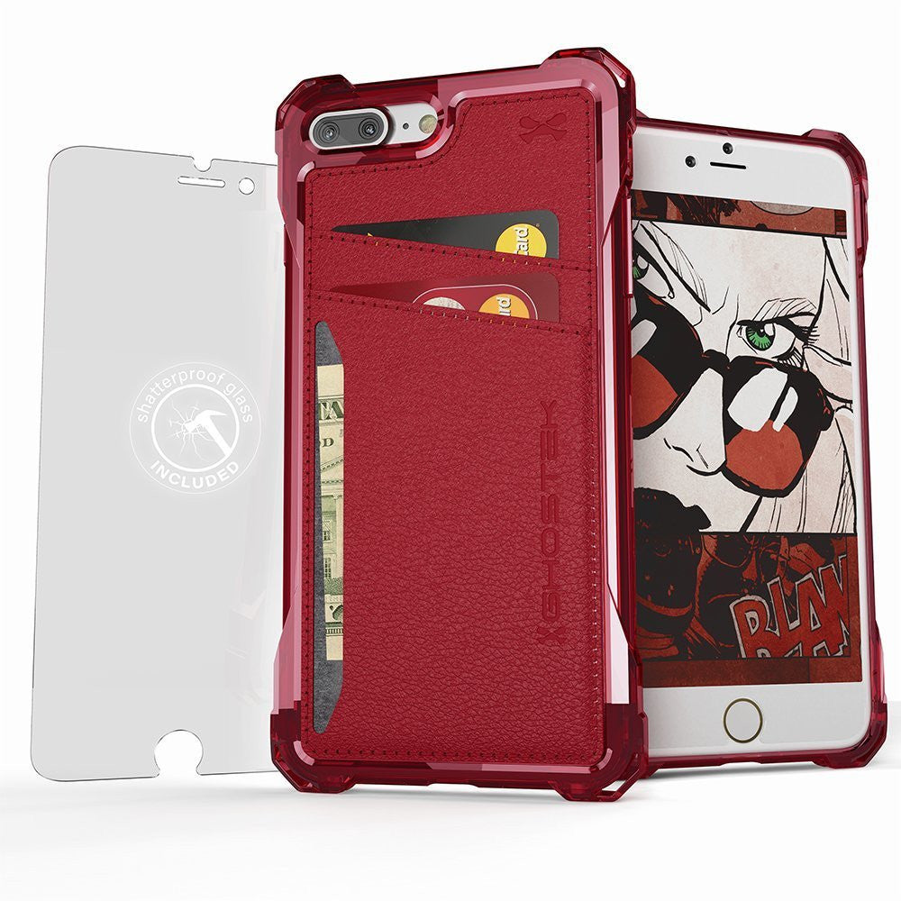 iPhone 7+ Plus Wallet Case, Ghostek® Exec Red Series | Slim Armor Hybrid Impact Bumper | TPU PU Leather Credit Card Slot Holder Sleeve Cover