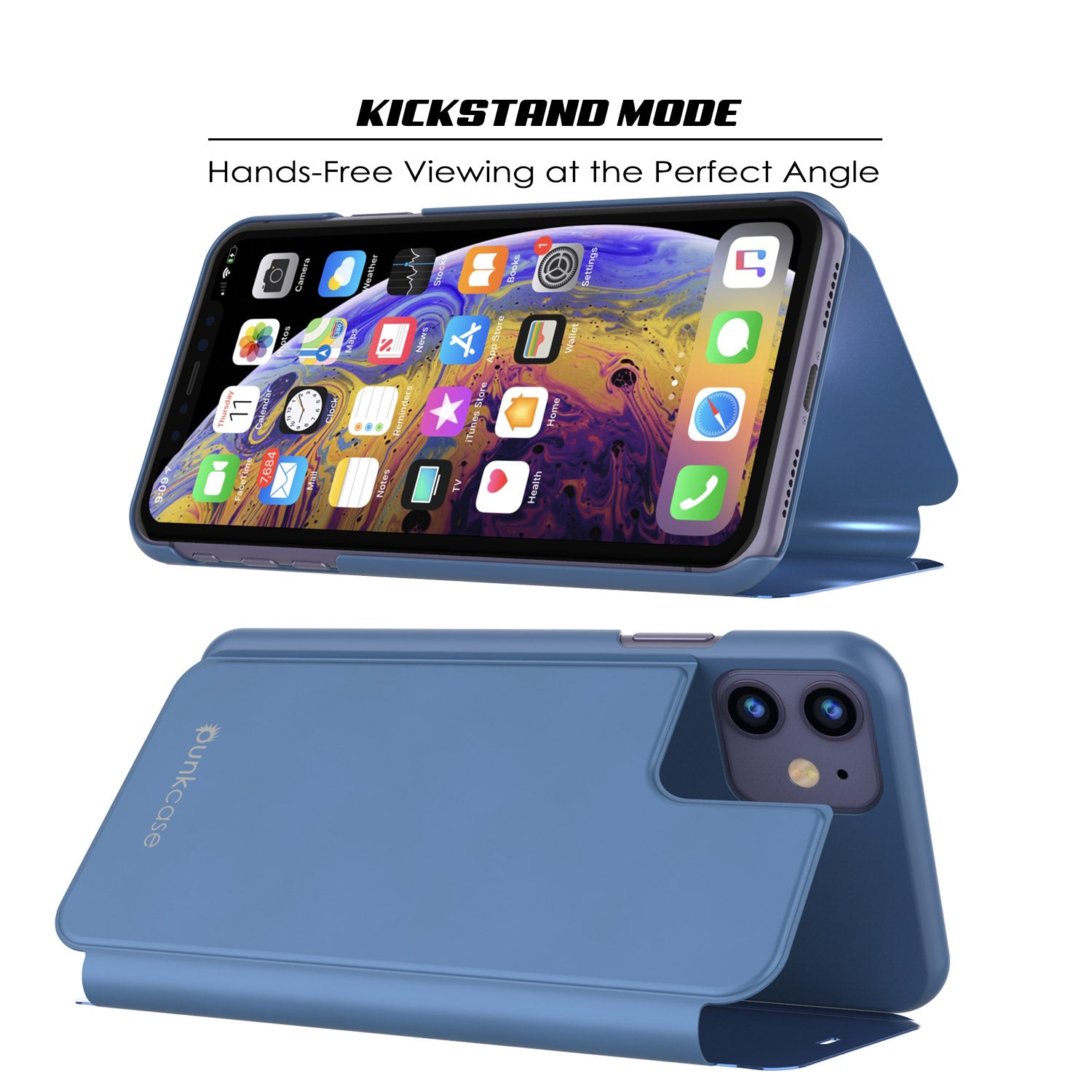 Punkcase iPhone 11 Reflector Case Protective Flip Cover [Blue]