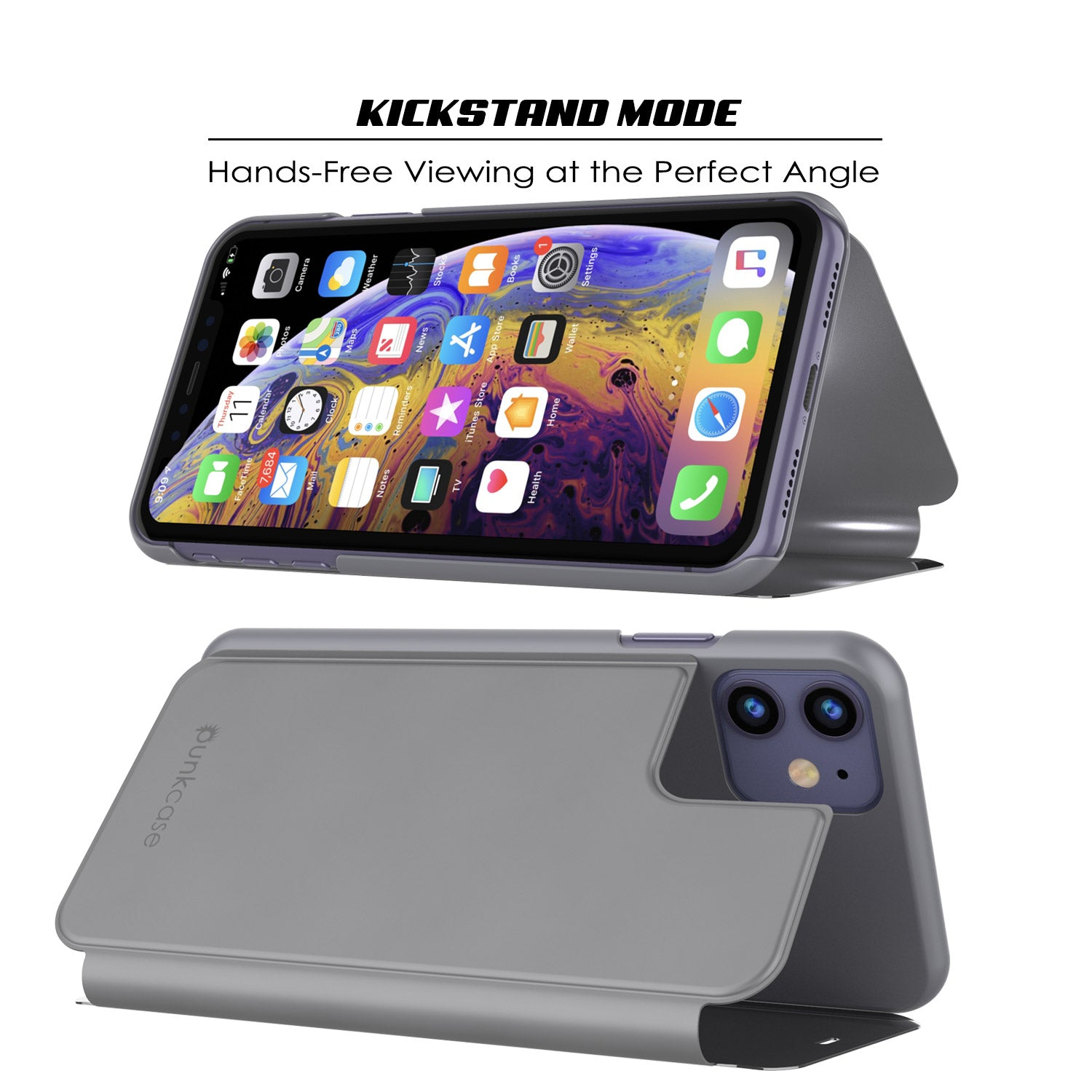 Punkcase iPhone 11 Reflector Case Protective Flip Cover [Silver]