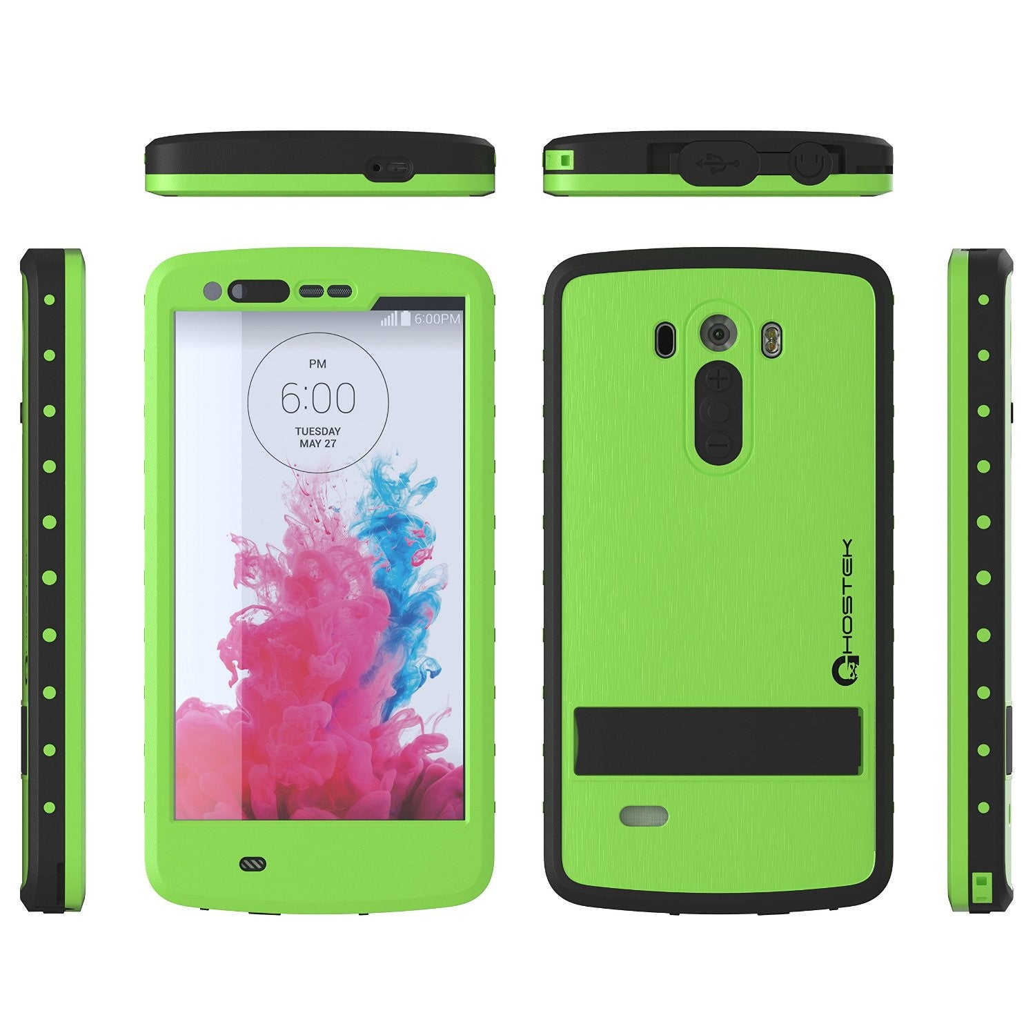 LG G3 Waterproof Case, Ghostek Atomic Green W/ Attached Screen Protector Slim Fitted