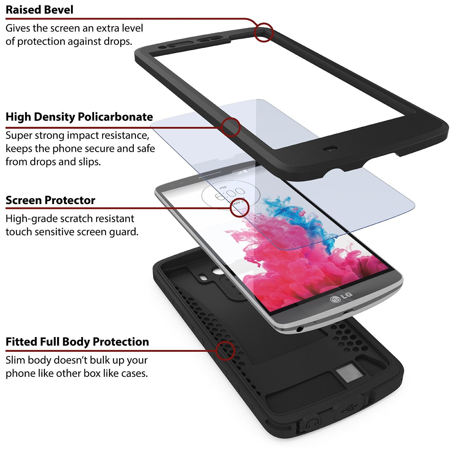 LG G3 Waterproof Case - Ghostek Atomic Black
