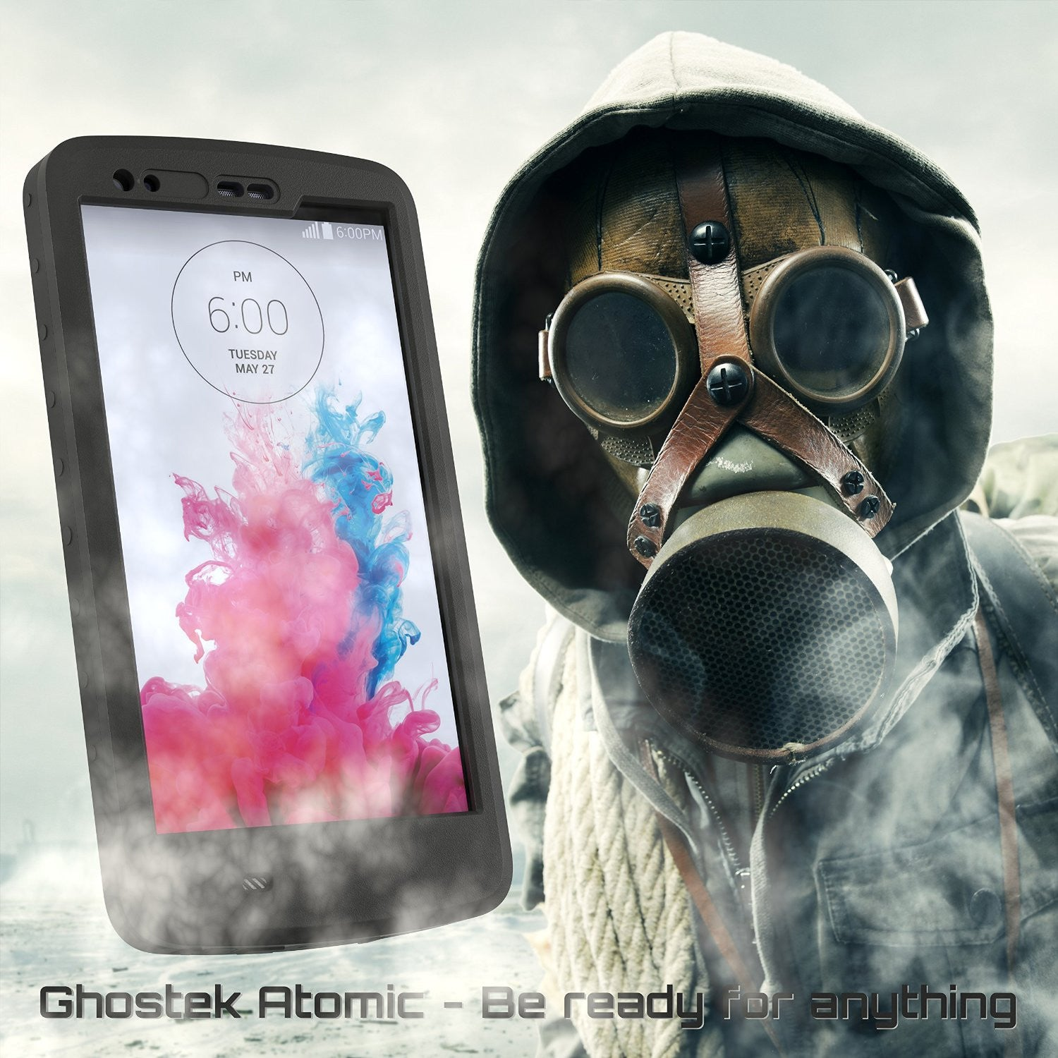 LG G3 Waterproof Case, Ghostek Atomic Black W/ Attached Screen Protector Fitted for LG G3