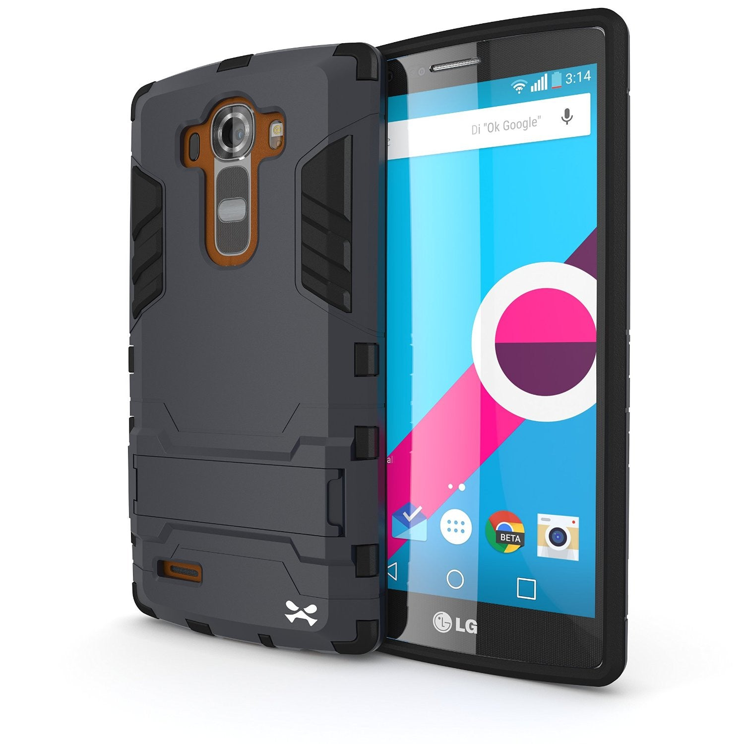 LG G4 Case Ghostek Armadillo 2.0 Dark Navy w/ Tempered Glass Protector | Slim Armor | Kickstand