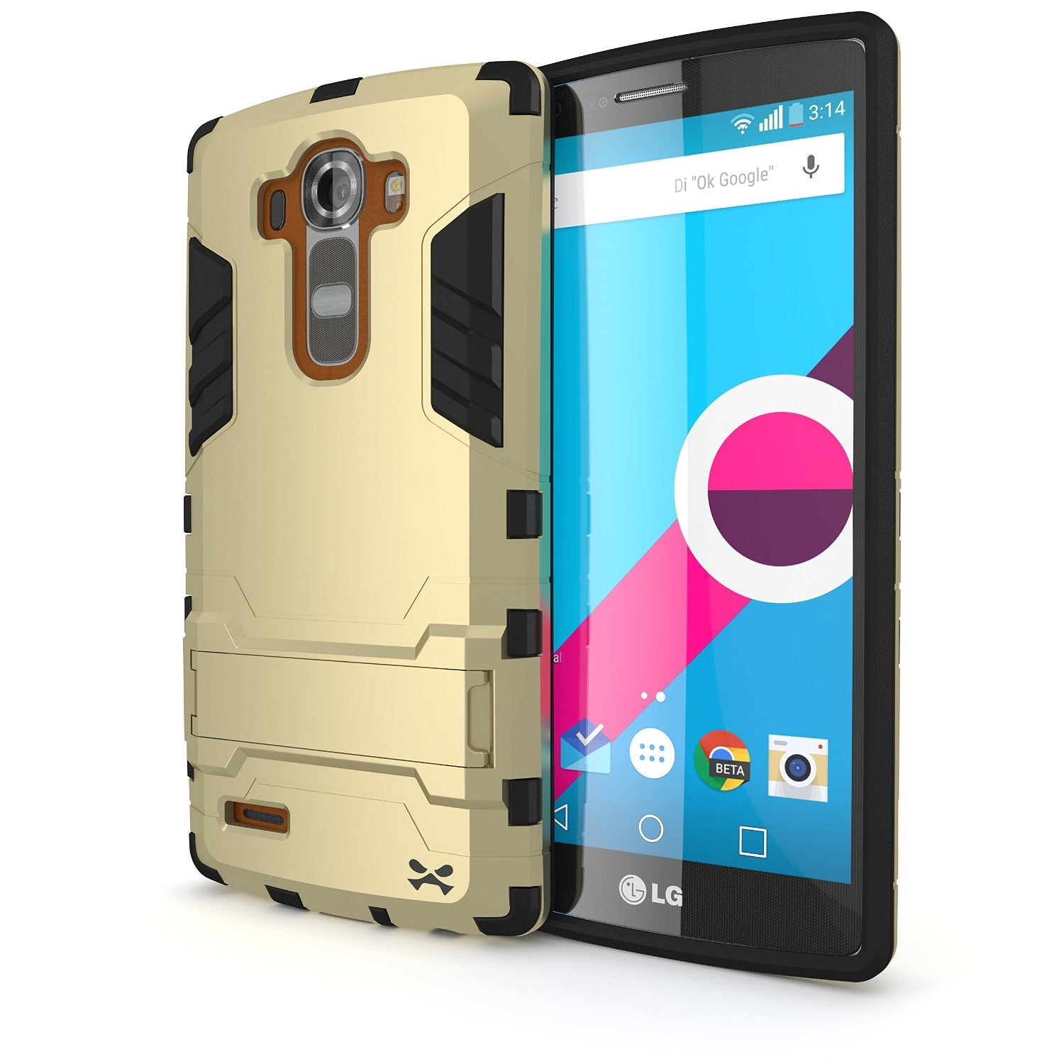 LG G4 Case Ghostek Armadillo 2.0 Gold w/ Tempered Glass Screen Protector | Slim Armor | Kickstand