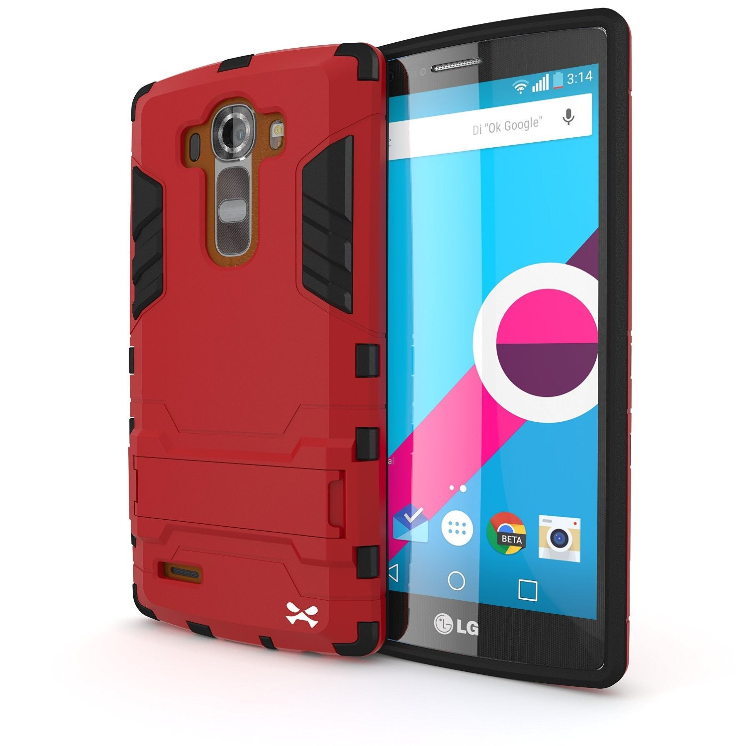 LG G4 Case Ghostek Armadillo 2.0 Red w/ Tempered Glass Screen Protector | Slim Armor | Kickstand