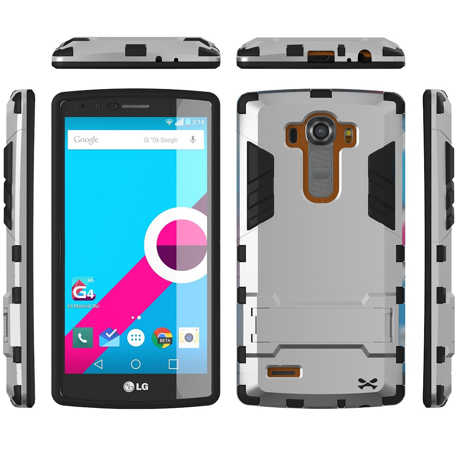 LG G4 Case Ghostek Armadillo 2.0 Silver w/ Tempered Glass Screen Protector | Slim Armor | Kickstand