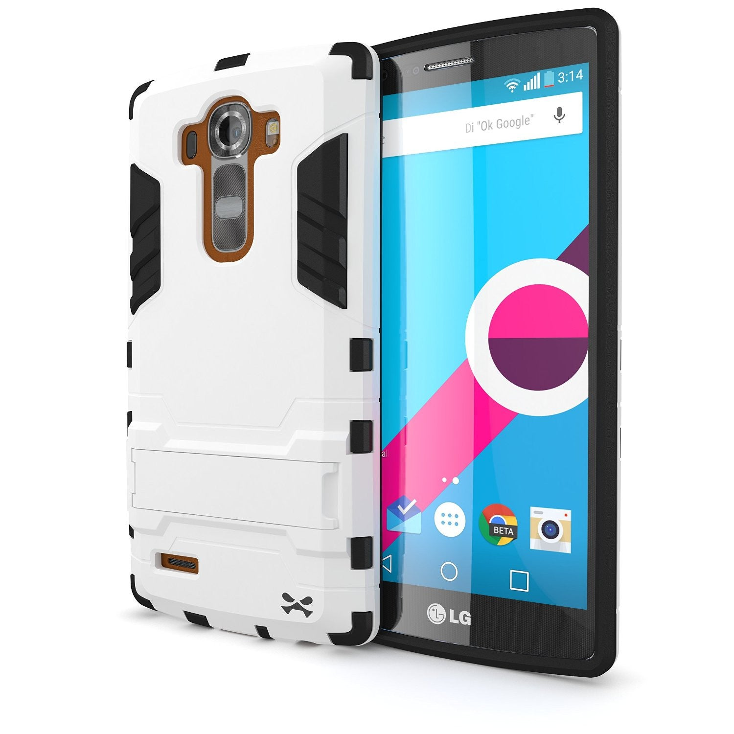 LG G4 Case Ghostek Armadillo 2.0 White w/ Tempered Glass Screen Protector | Slim Armor | Kickstand