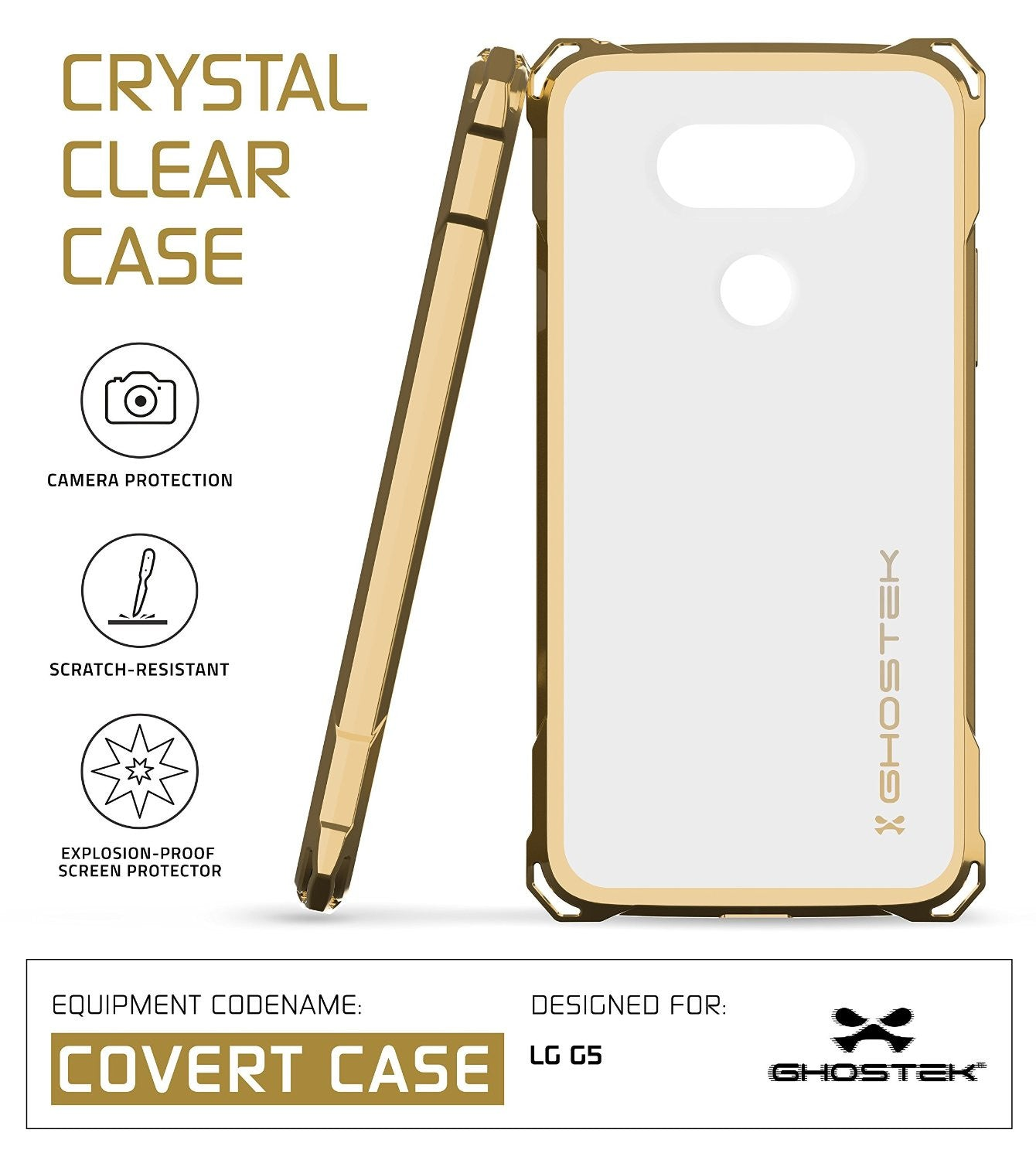 LG G5 Case, Ghostek® Gold Covert Premium Slim Hybrid Protective Cover | Lifetime Warranty Exchange