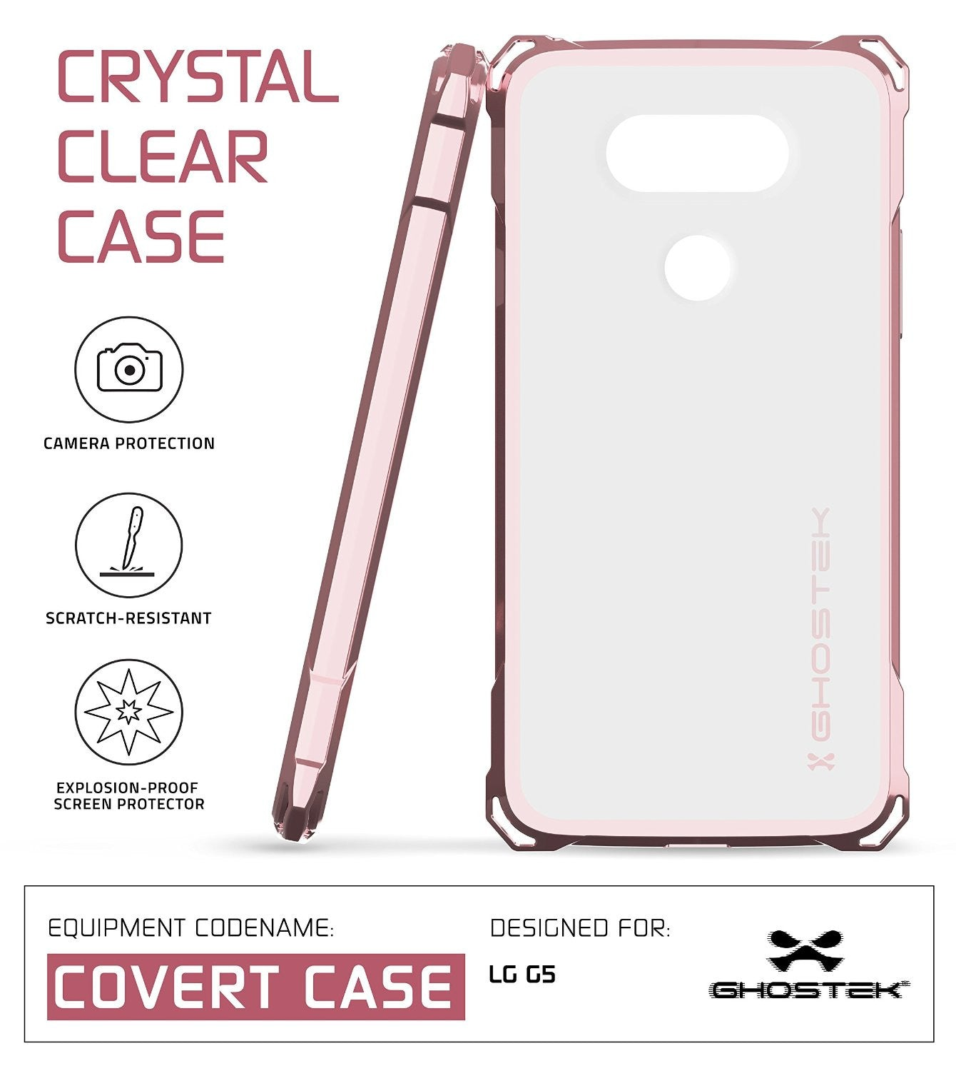 LG G5 Case, Ghostek® Clear Pink Premium Slim Hybrid Protective Cover | Lifetime Warranty Exchange