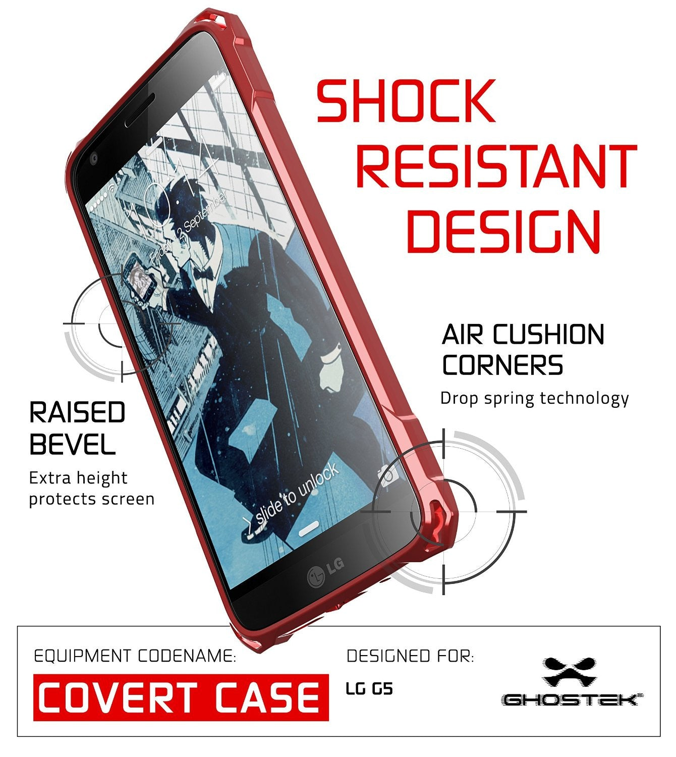 LG G5 Case, Ghostek® Red Covert Premium Slim Hybrid Protective Cover | Lifetime Warranty Exchange