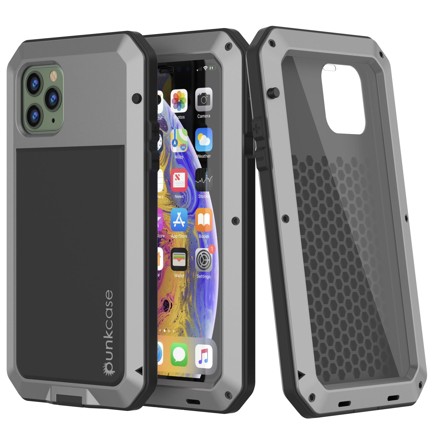 iPhone 11 Pro Max Metal Case, Heavy Duty Military Grade Armor Cover [shock proof] Full Body Hard [Silver]