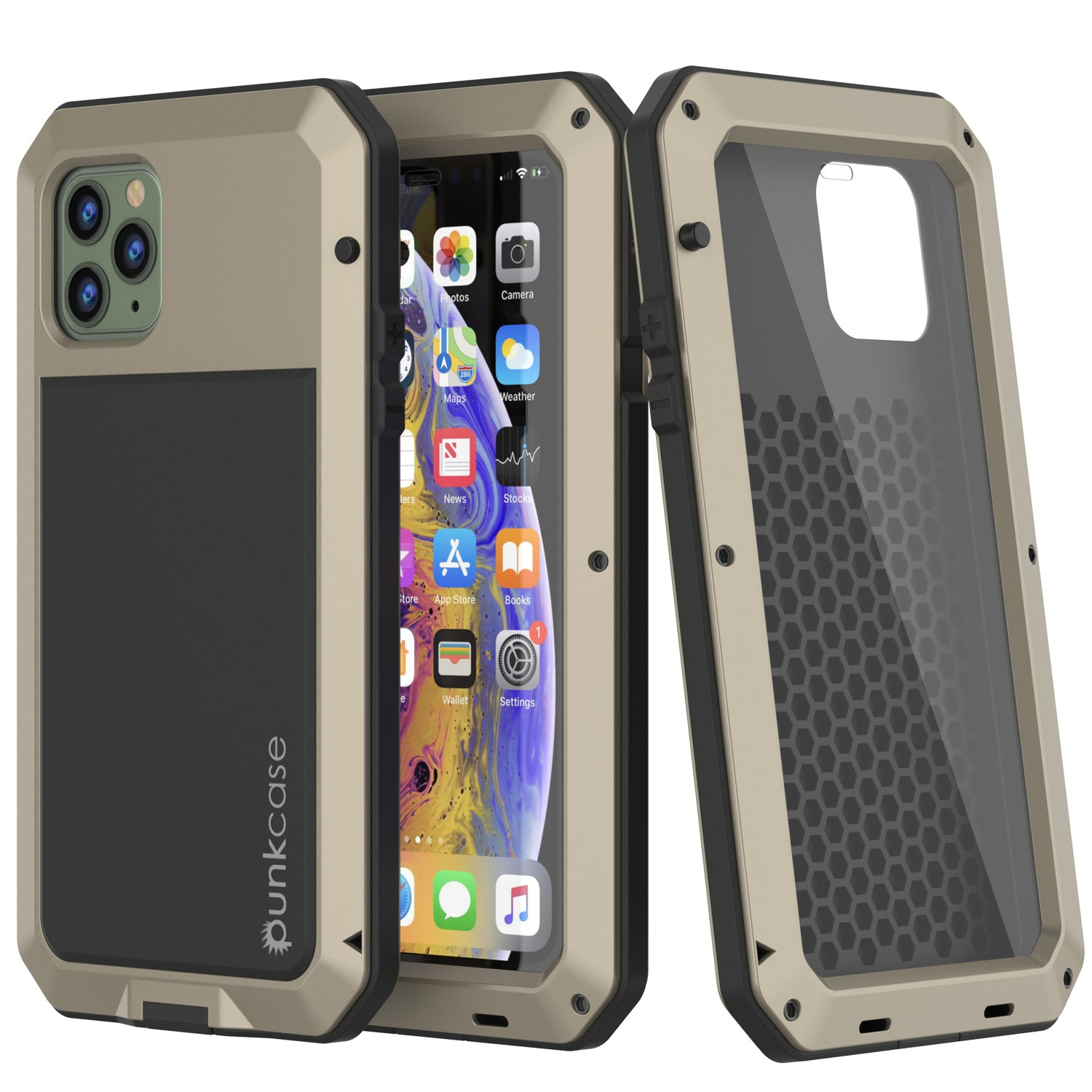 iPhone 11 Pro Max Metal Case, Heavy Duty Military Grade Armor Cover [shock proof] Full Body Hard [Gold]