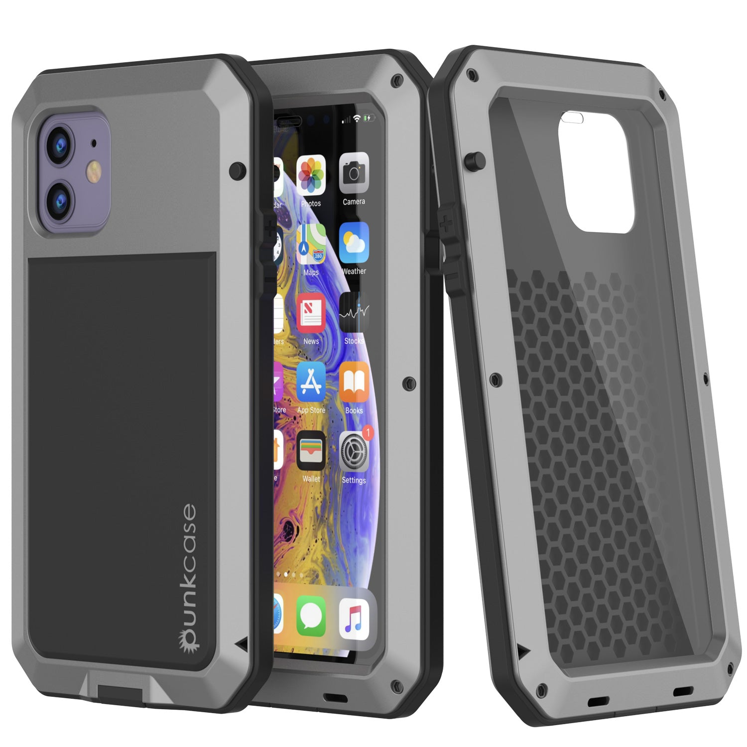 iPhone 11 Metal Case, Heavy Duty Military Grade Armor Cover [shock proof] Full Body Hard [Silver]