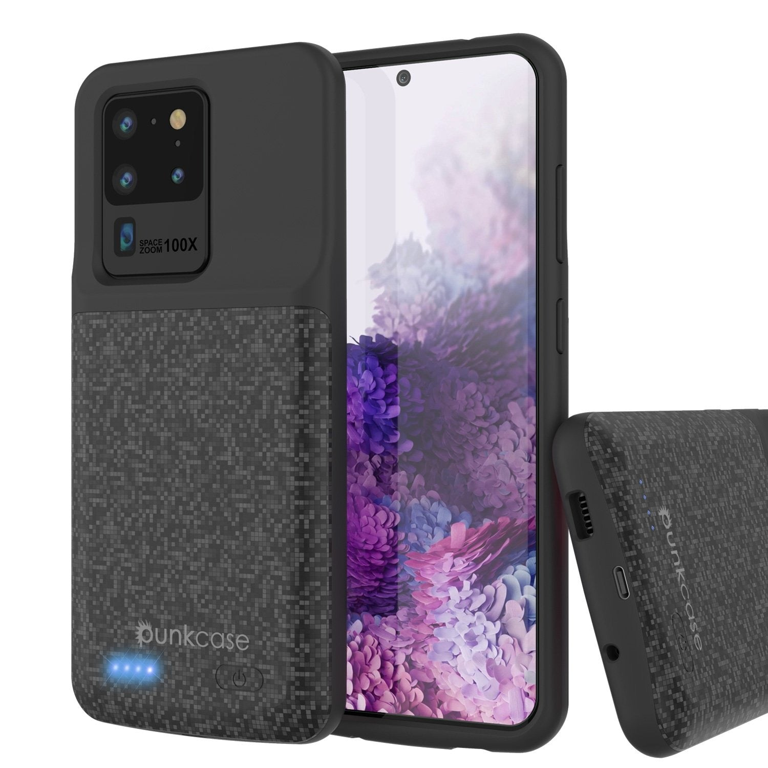 PunkJuice S20 Ultra Battery Case Patterned Black - Fast Charging Power Juice Bank with 6000mAh