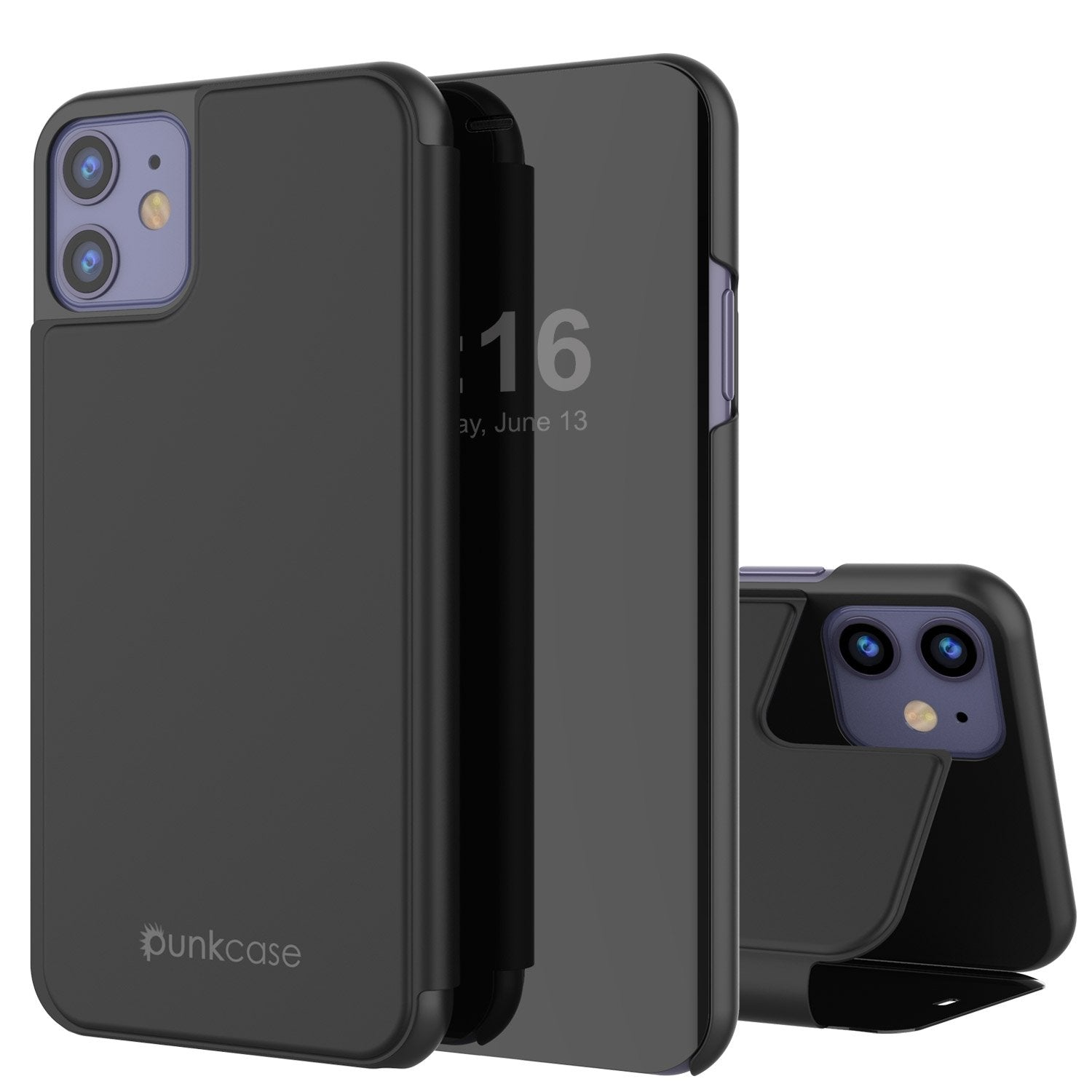 Punkcase iPhone 11 Pro Reflector Case Protective Flip Cover [Black]