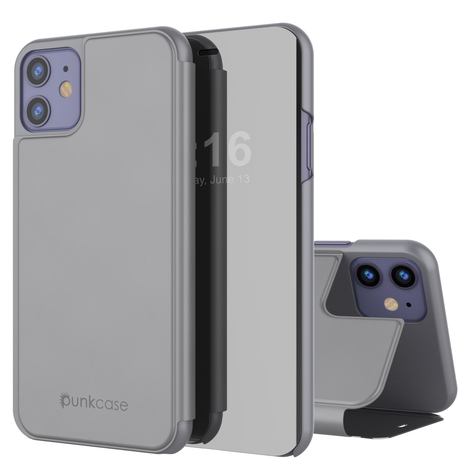 Punkcase iPhone 11 Pro Reflector Case Protective Flip Cover [Silver]