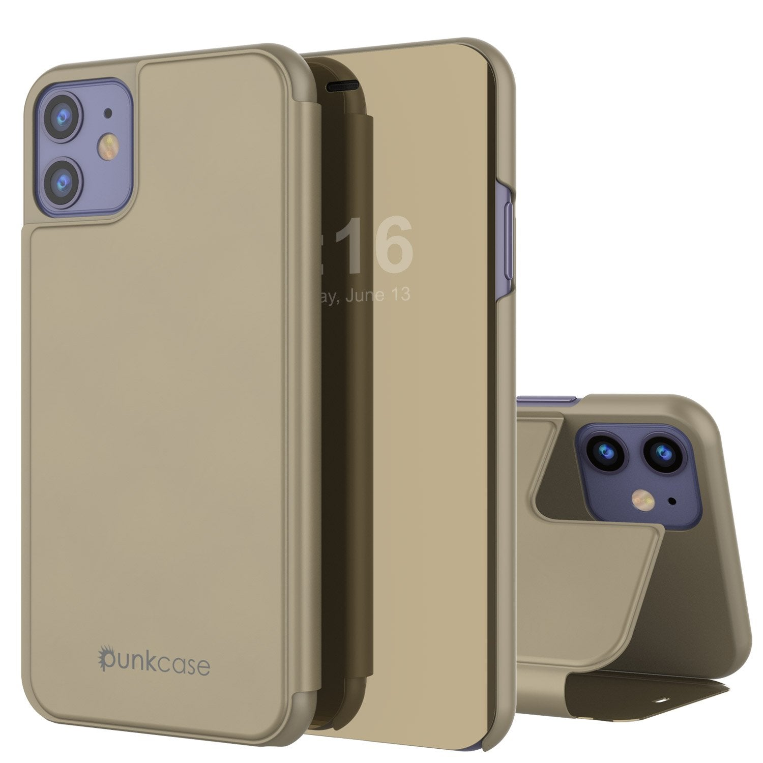 Punkcase iPhone 11 Pro Reflector Case Protective Flip Cover [Gold]
