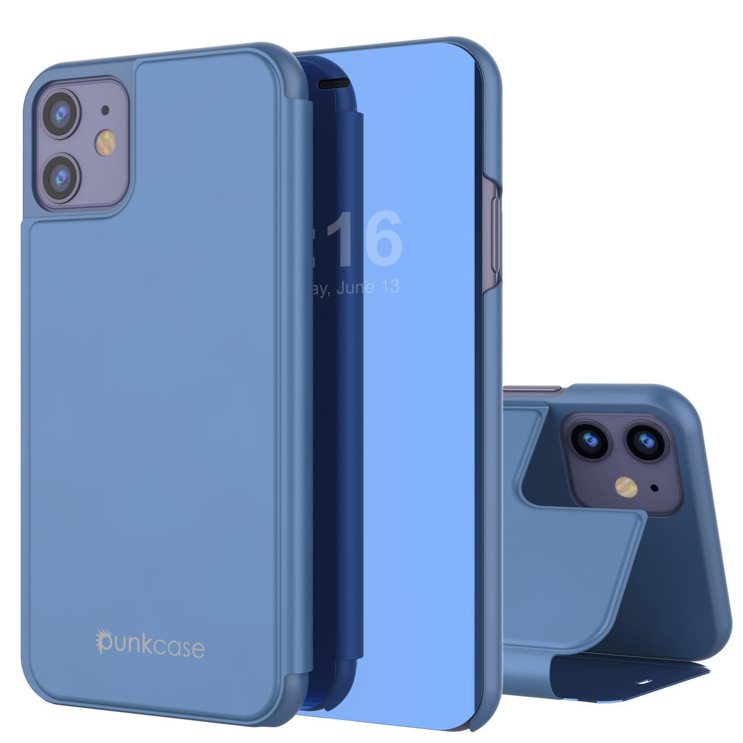 Punkcase iPhone 11 Pro Reflector Case Protective Flip Cover [Blue]