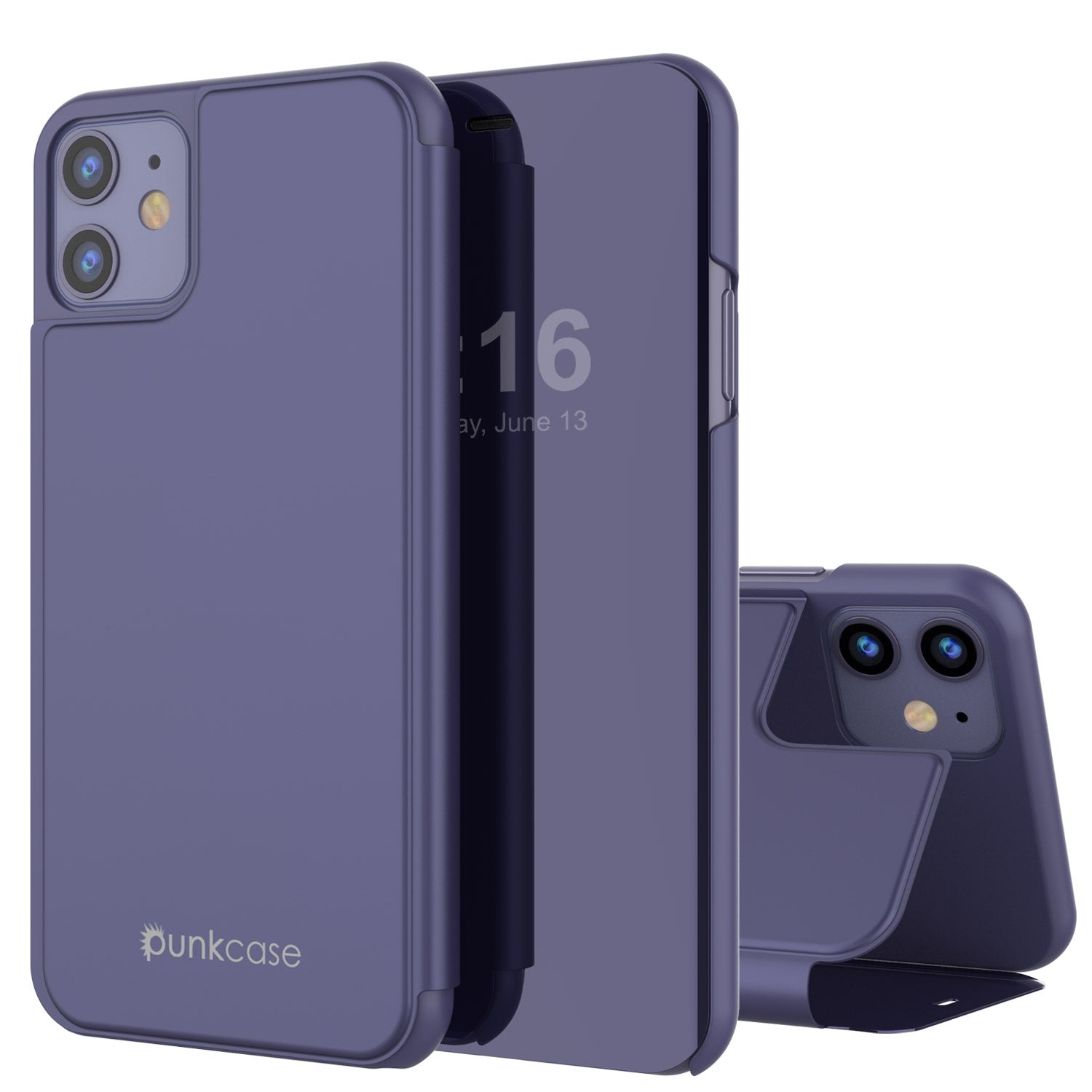 Punkcase iPhone 11 Reflector Case Protective Flip Cover [Purple]