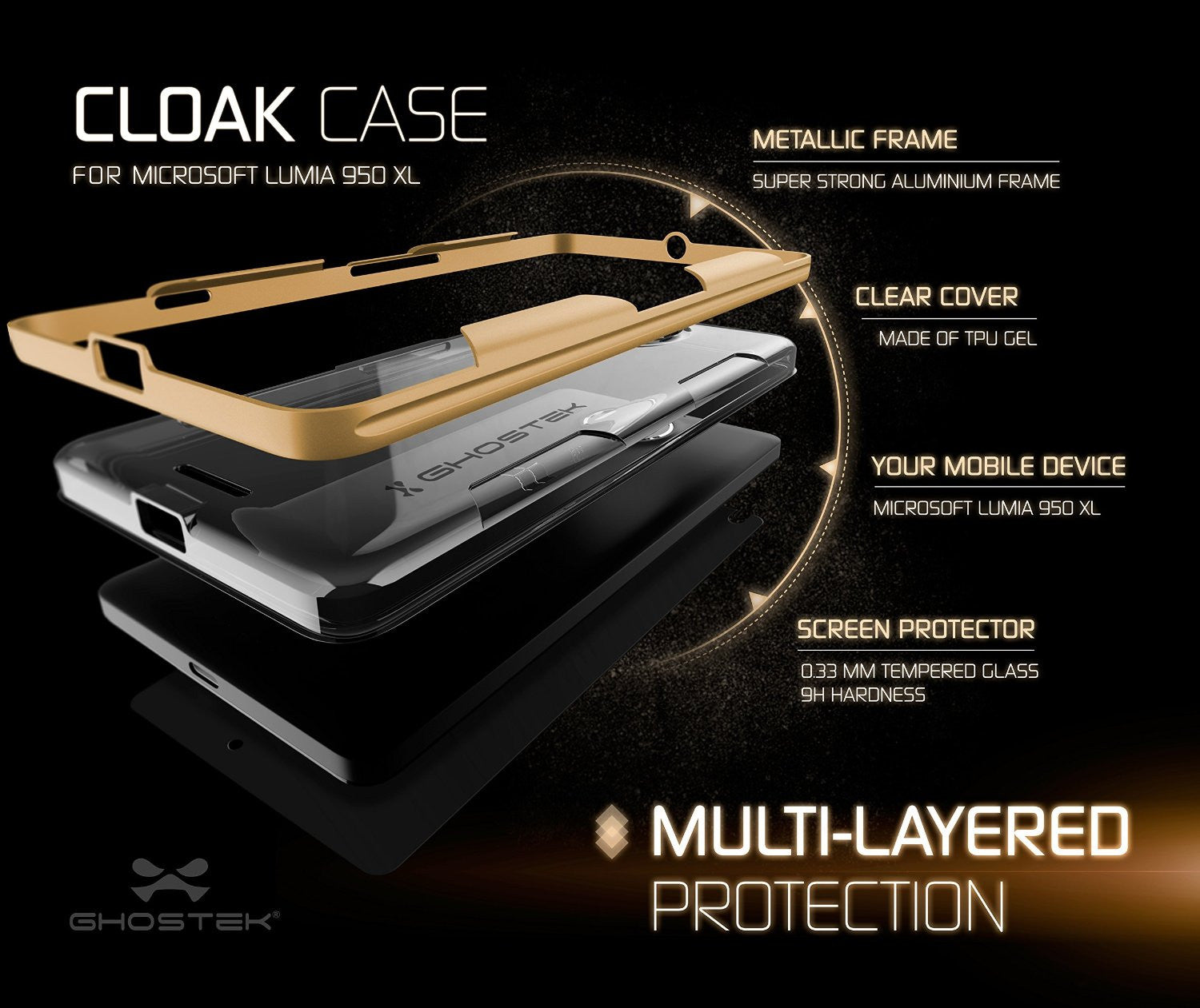 Microsoft 950 XL Case, Ghostek® Cloak Gold Slim Hybrid Impact Armor | Lifetime Warranty Exchange