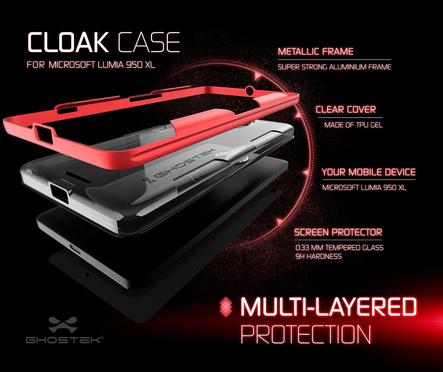Microsoft Lumia 950 Case, Ghostek® Cloak Red Slim Hybrid Impact Armor | Lifetime Warranty Exchange