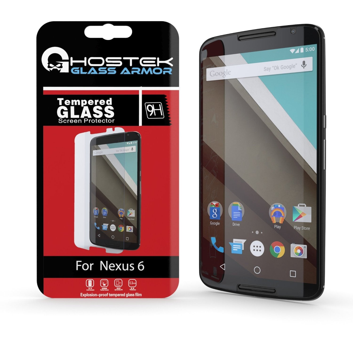 NEXUS 6 Screen Protector, Ghostek Glass Armor Tempered Glass Screen Protector 0.33mm Thick 9H Glass